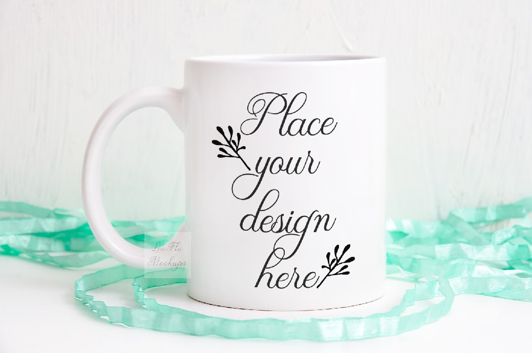 Coffee mug mockup spring white cup psd mock up example image 1