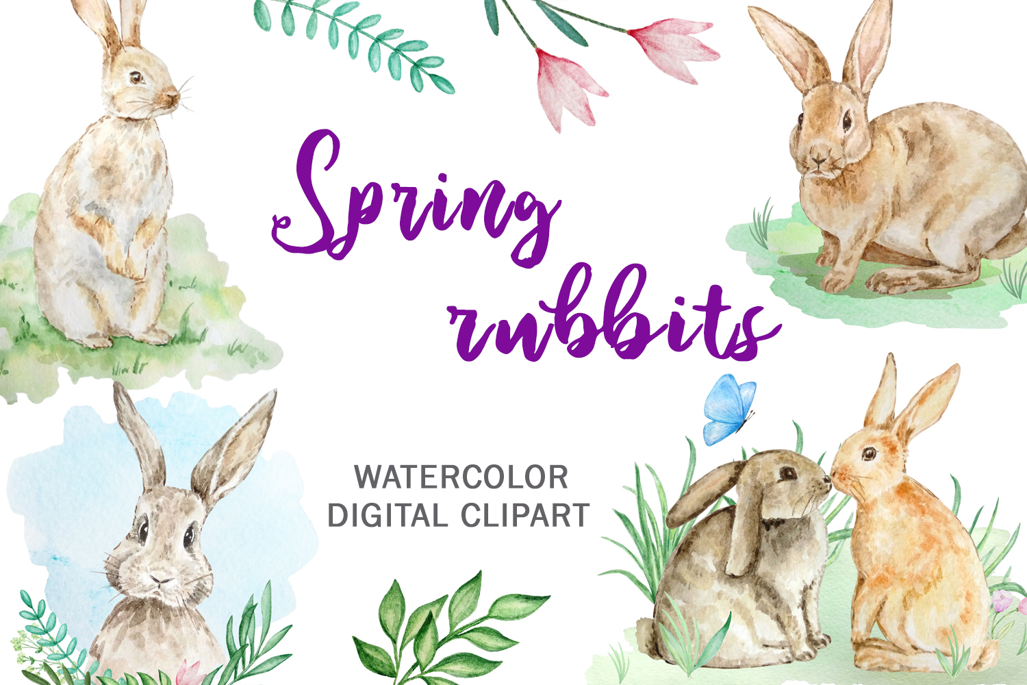 Watercolor Spring Rabbit Clipart Set example image 1