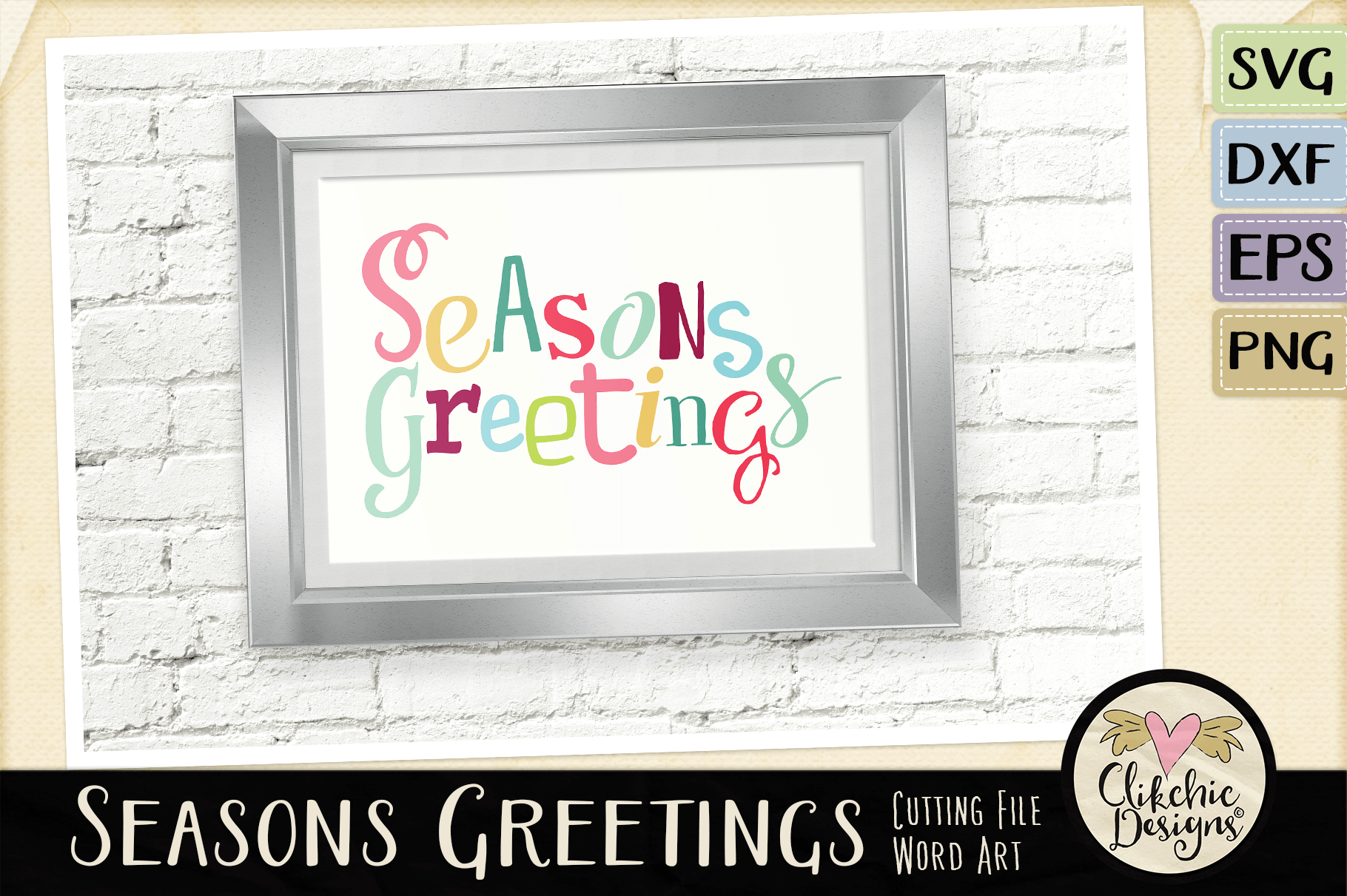 Chistmas SVG - Seasons Greetings Word Art & Vector Clipart example image 5