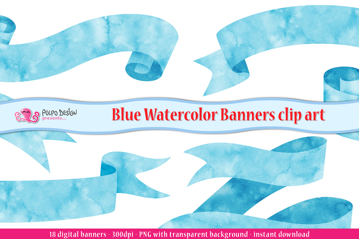Blue Watercolor Banner clip art example image 1