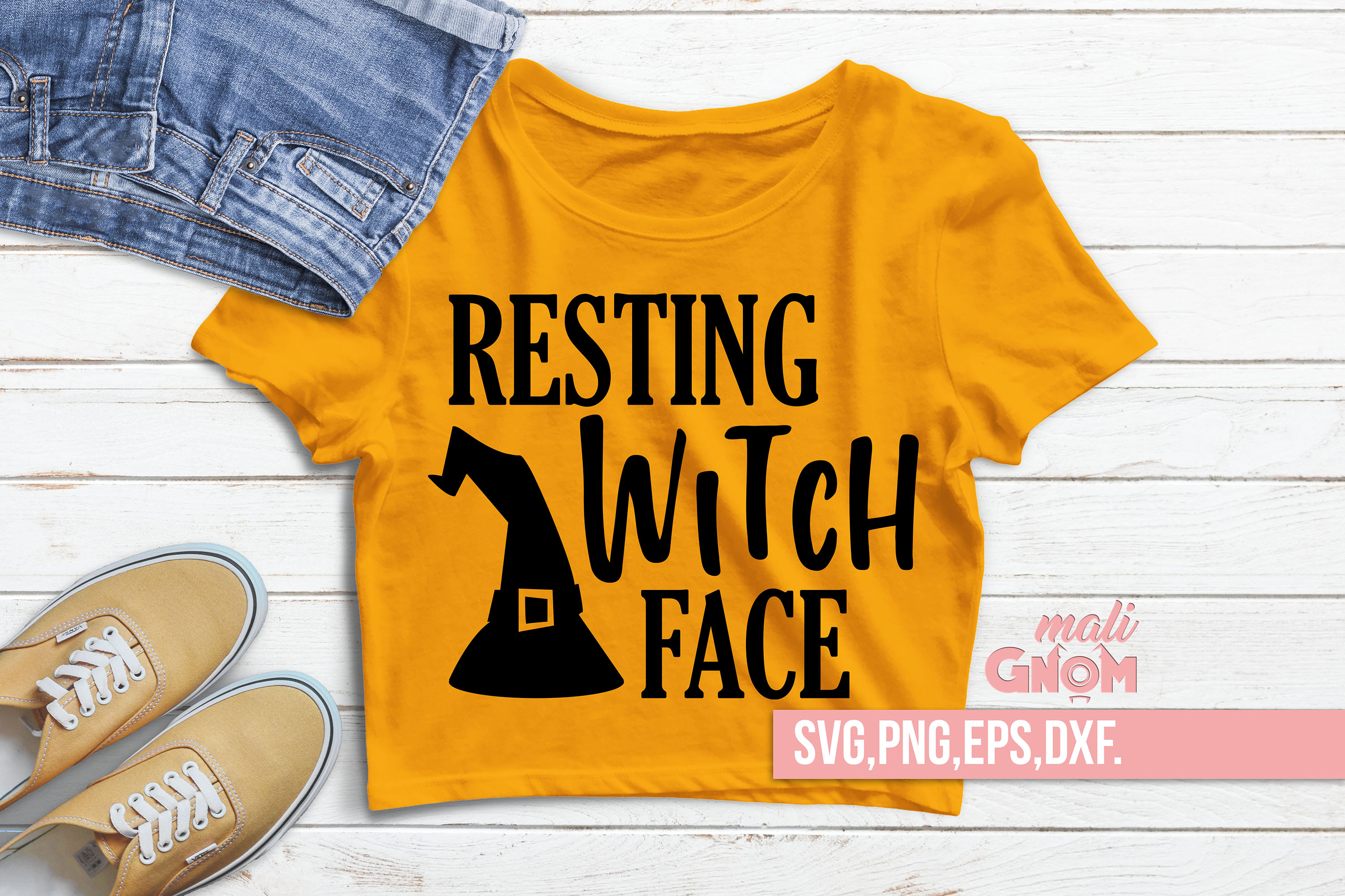 Resting Witch Face SVG, Halloween SVG file, Trick or Treat example image 1