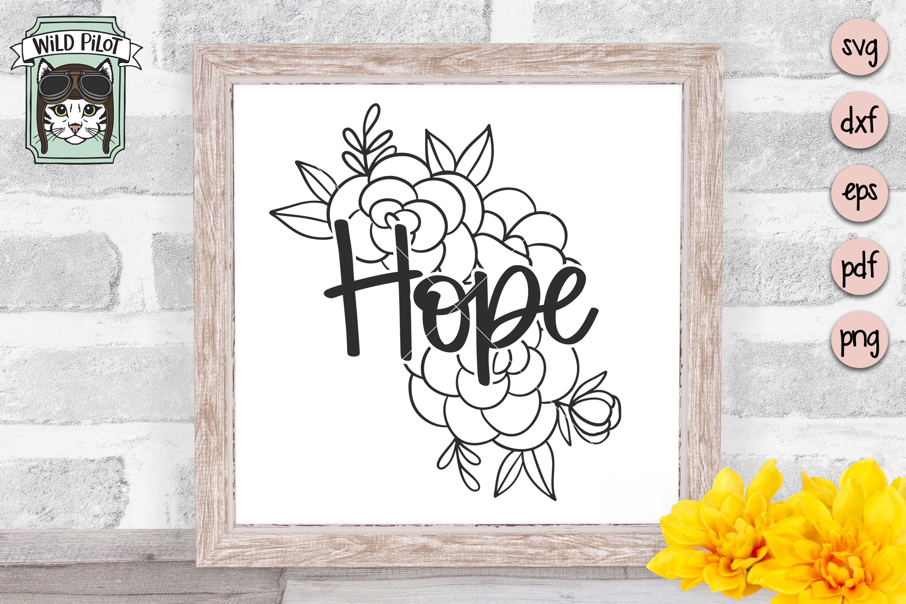 Hope SVG file, Hope cut file, Flowers, Floral, Religious example image 2