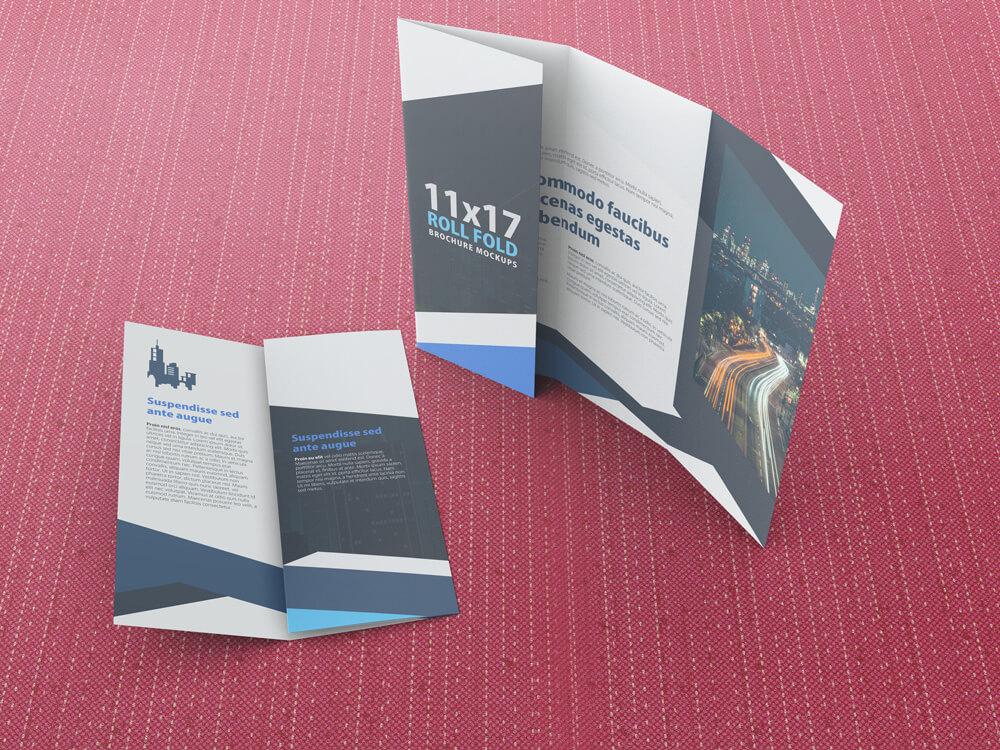 11x17 Four Panel Roll Fold Brochure Mockup example image 6