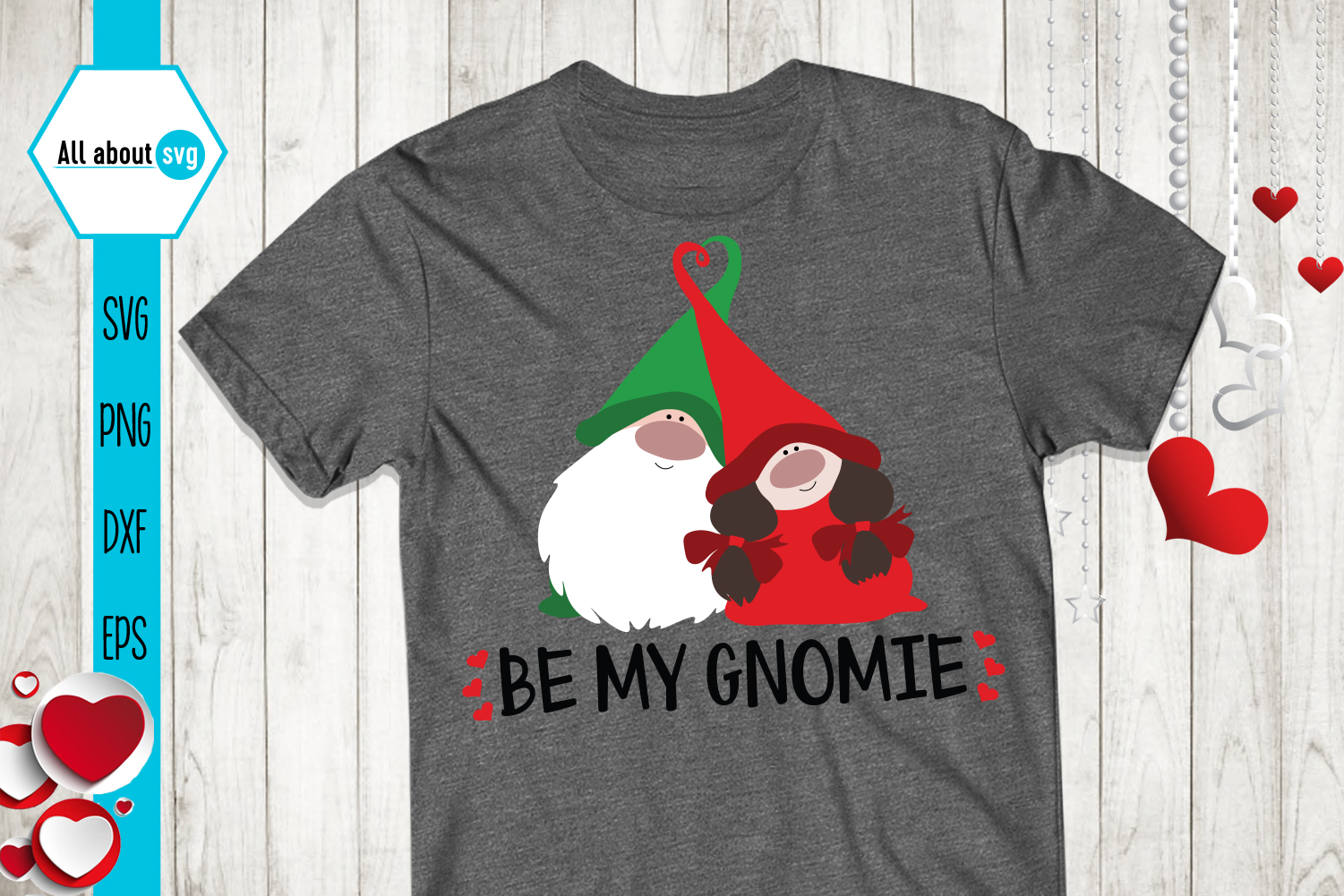 Be My Gnomie Svg, Gnome Svg, Valentine's Day svg example image 3