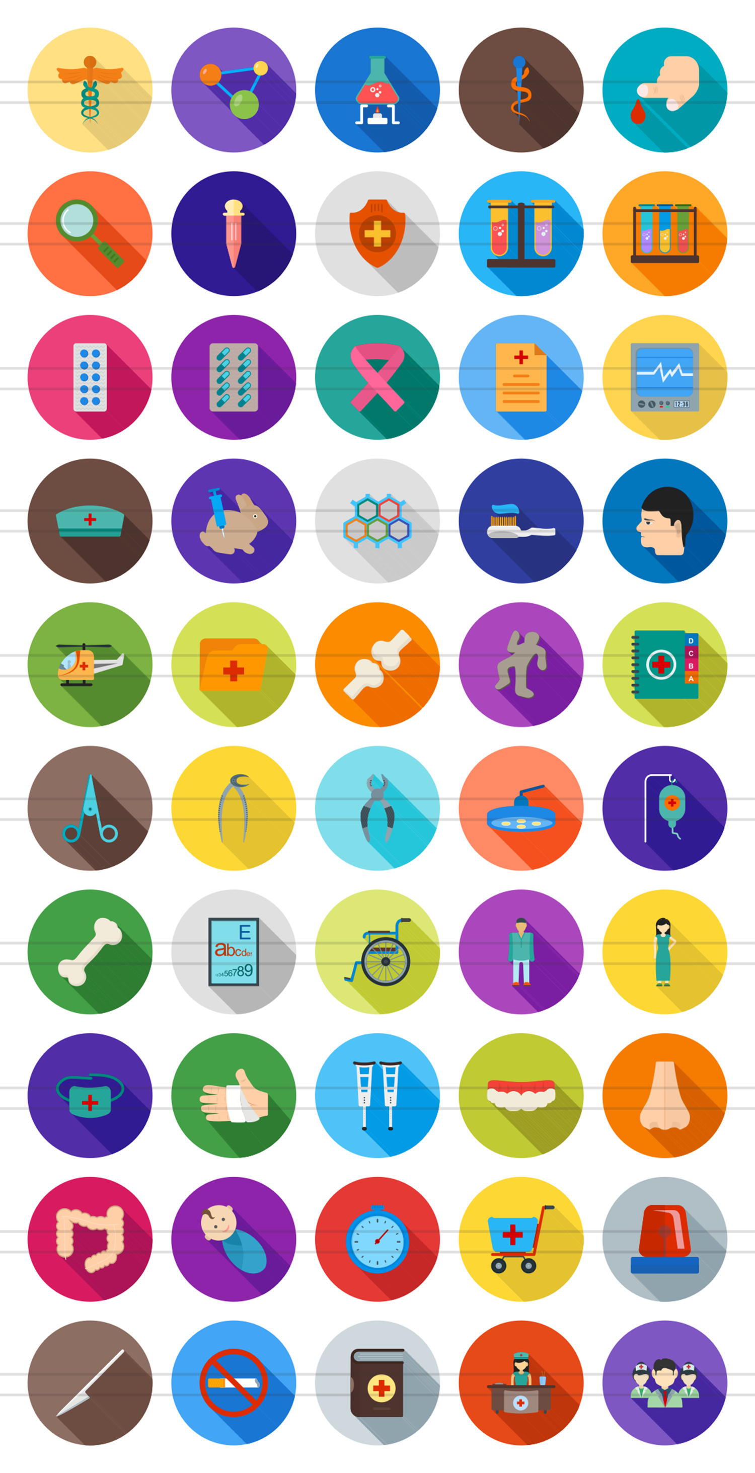 50 Healthcare Flat Long Shadoow Icons example image 2