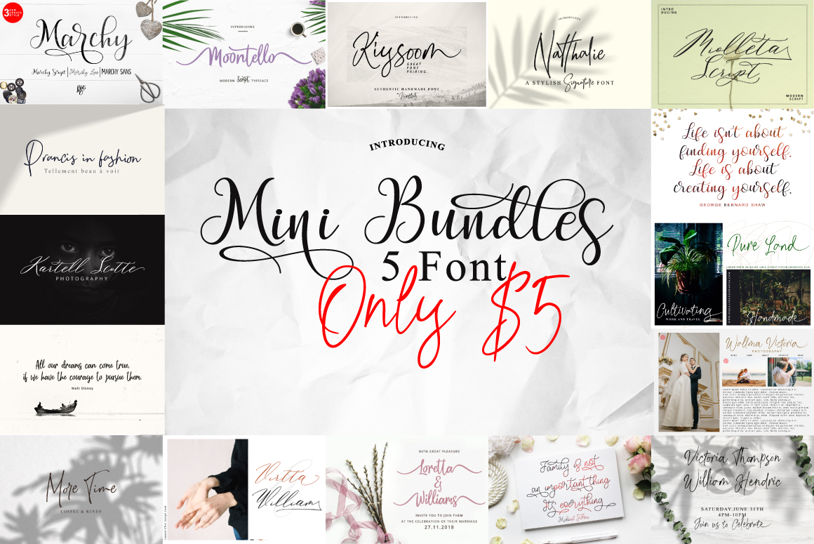 Mini Bundles 5 font Only $5 example image 1