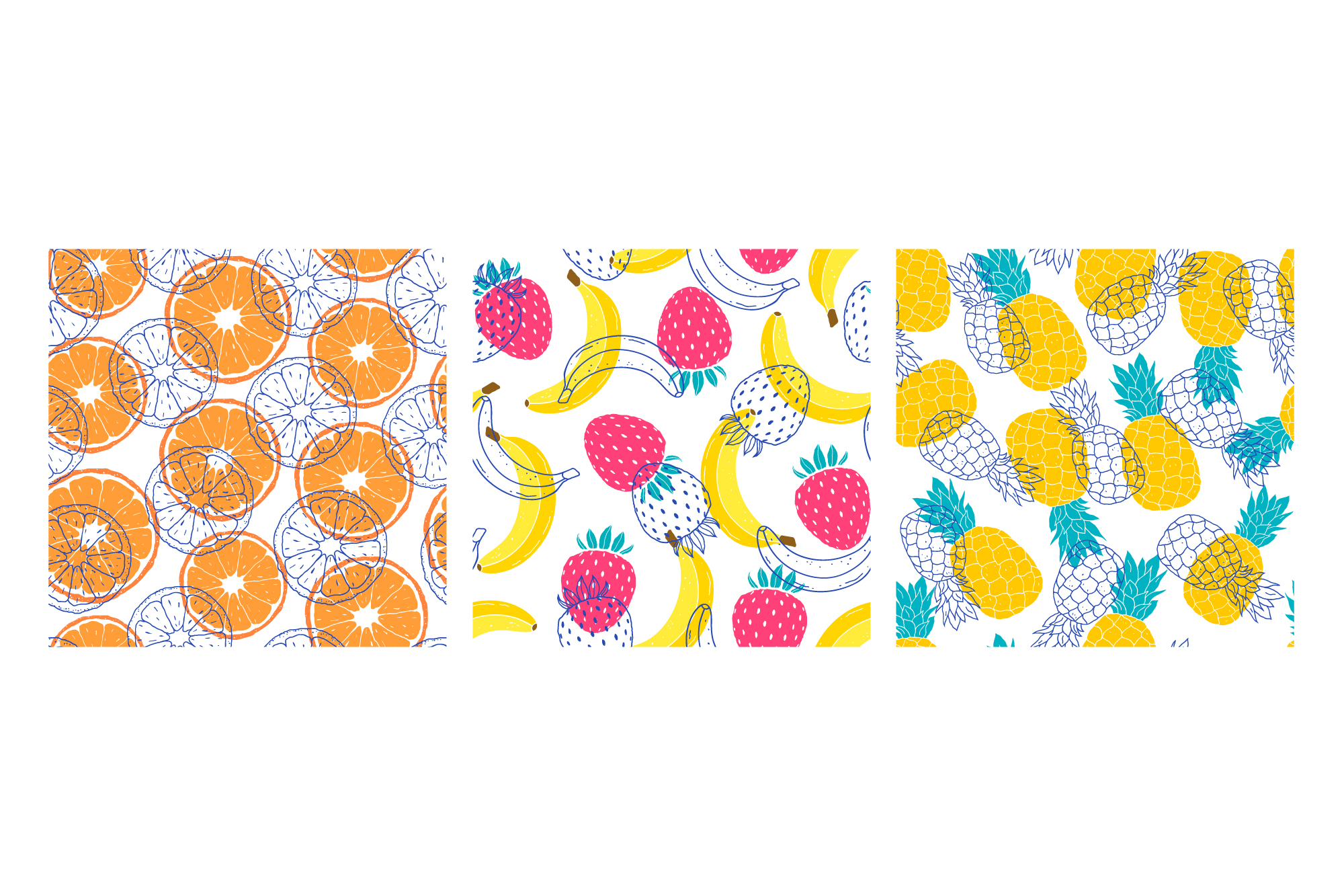 Fruits. Vector patterns. example image 14