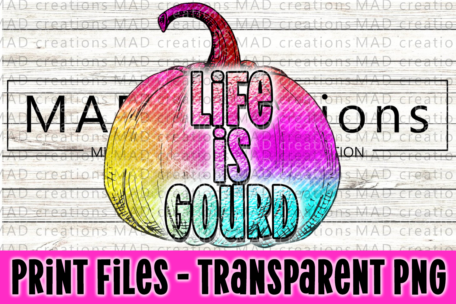 Life Is Gourd Rainbow Pumpkin Print File example image 1