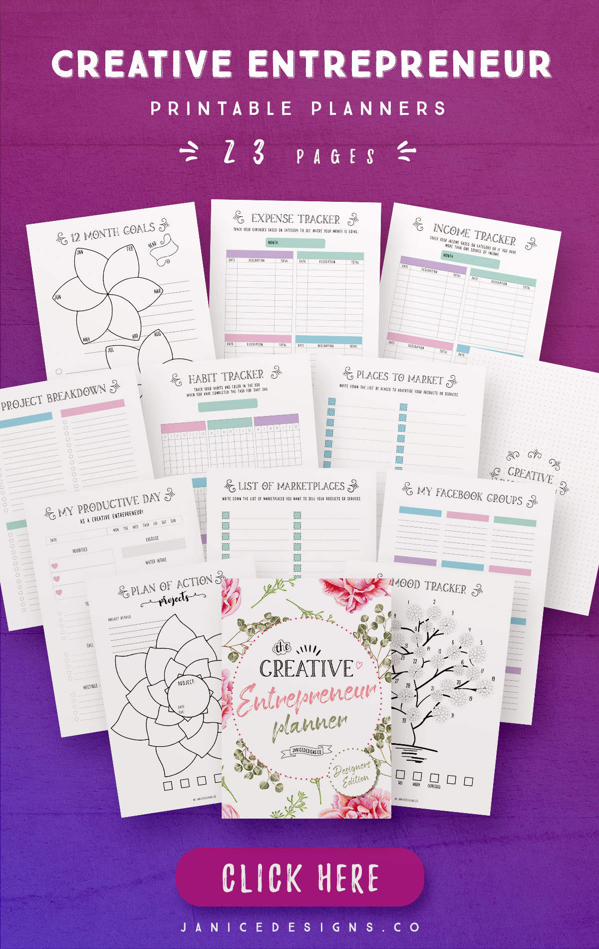 Creative Entrepreneur Printable Planners - 23 Pages example image 2