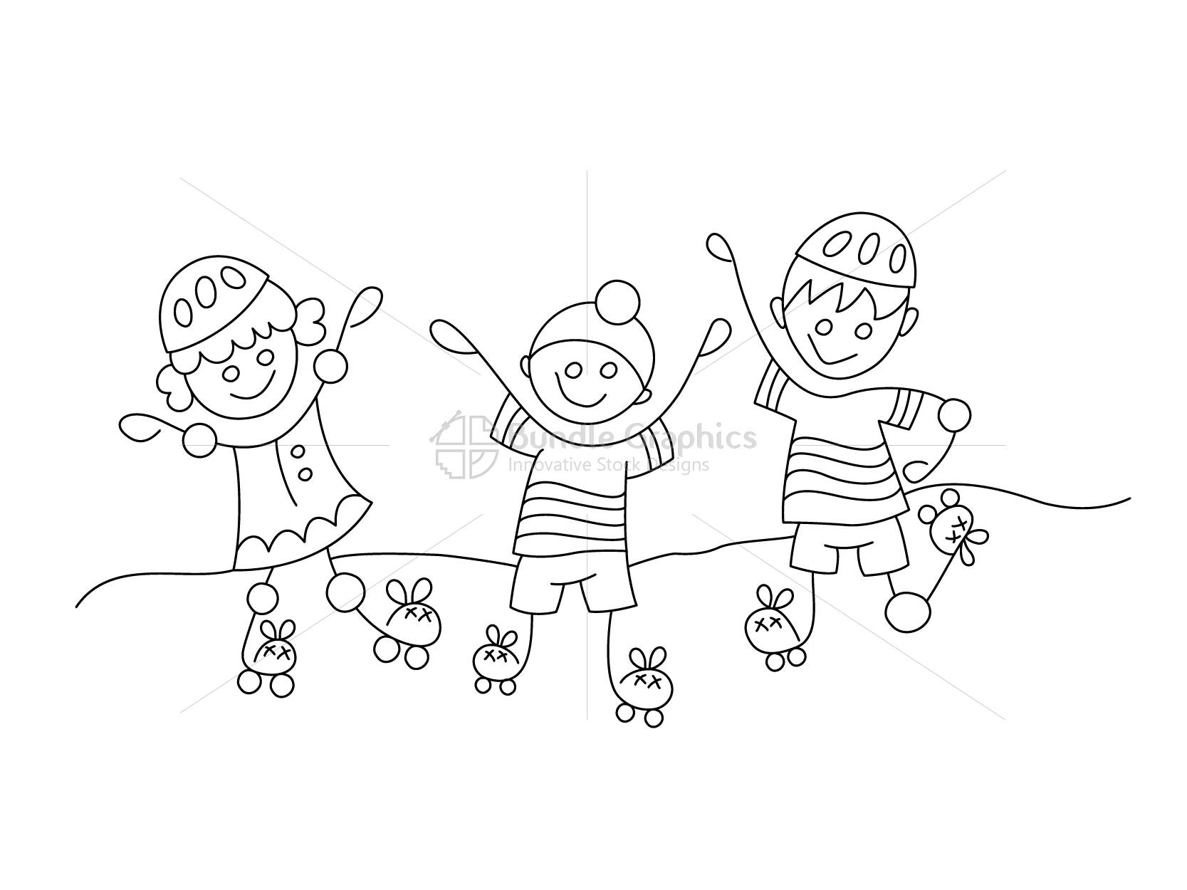 Kids Roller Skating Graphical Illustration example image 2