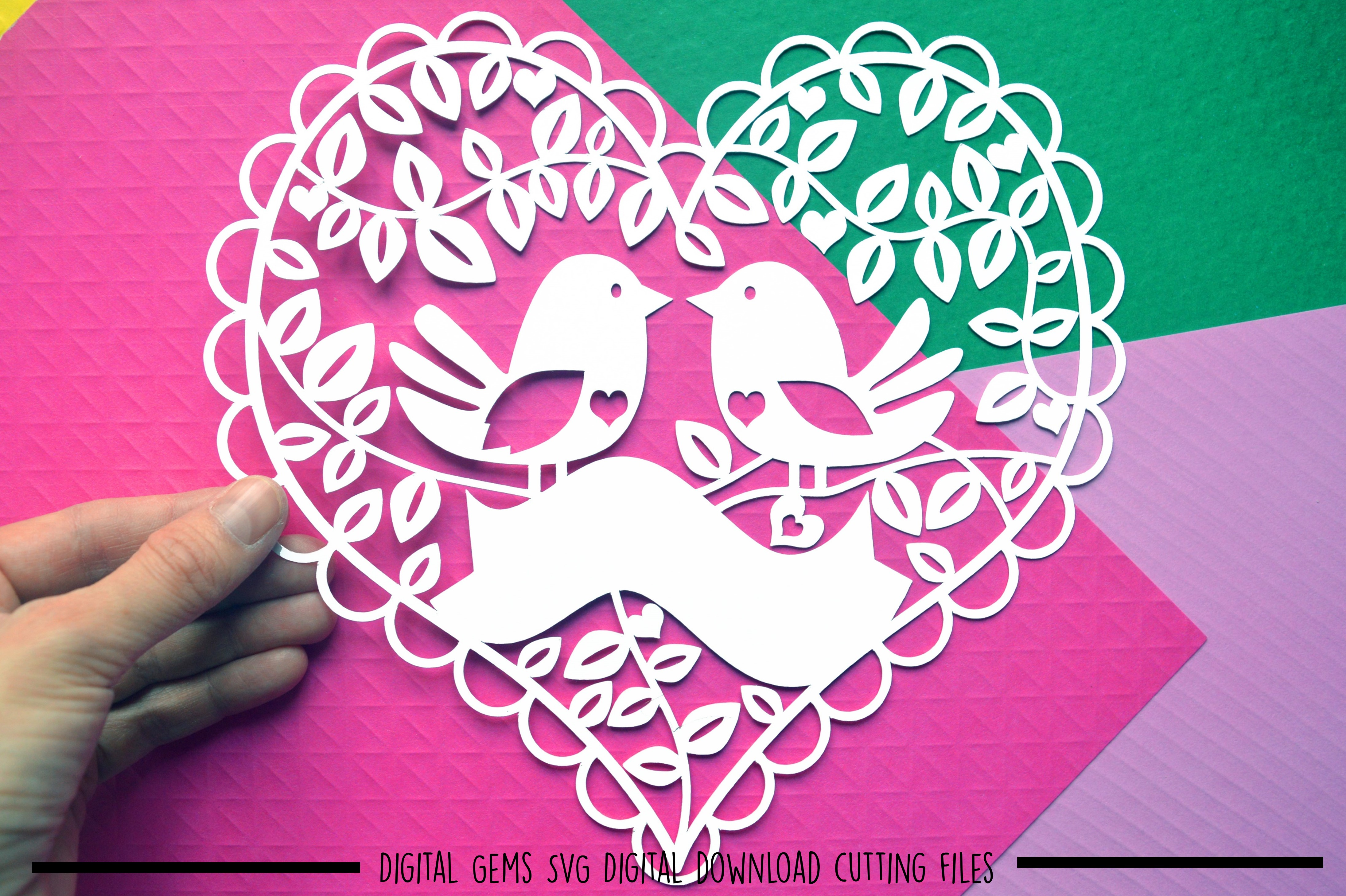 Bird heart paper cut SVG / DXF / EPS files example image 2