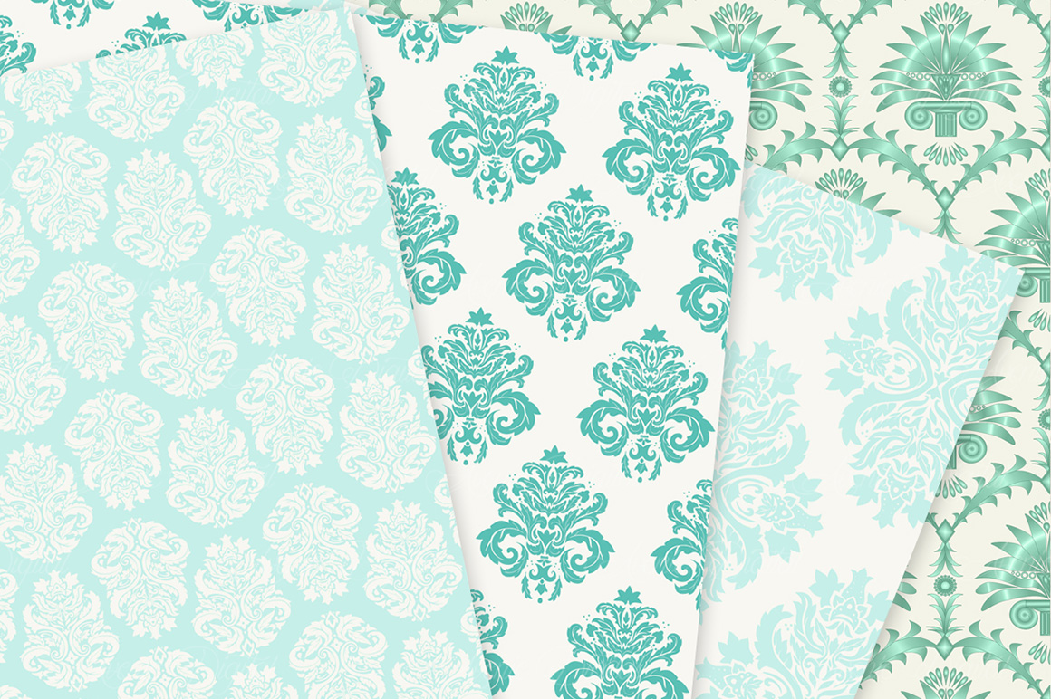 28 Mint Damask Patterns - Wedding Seamless Digital Papers Bundle example image 10
