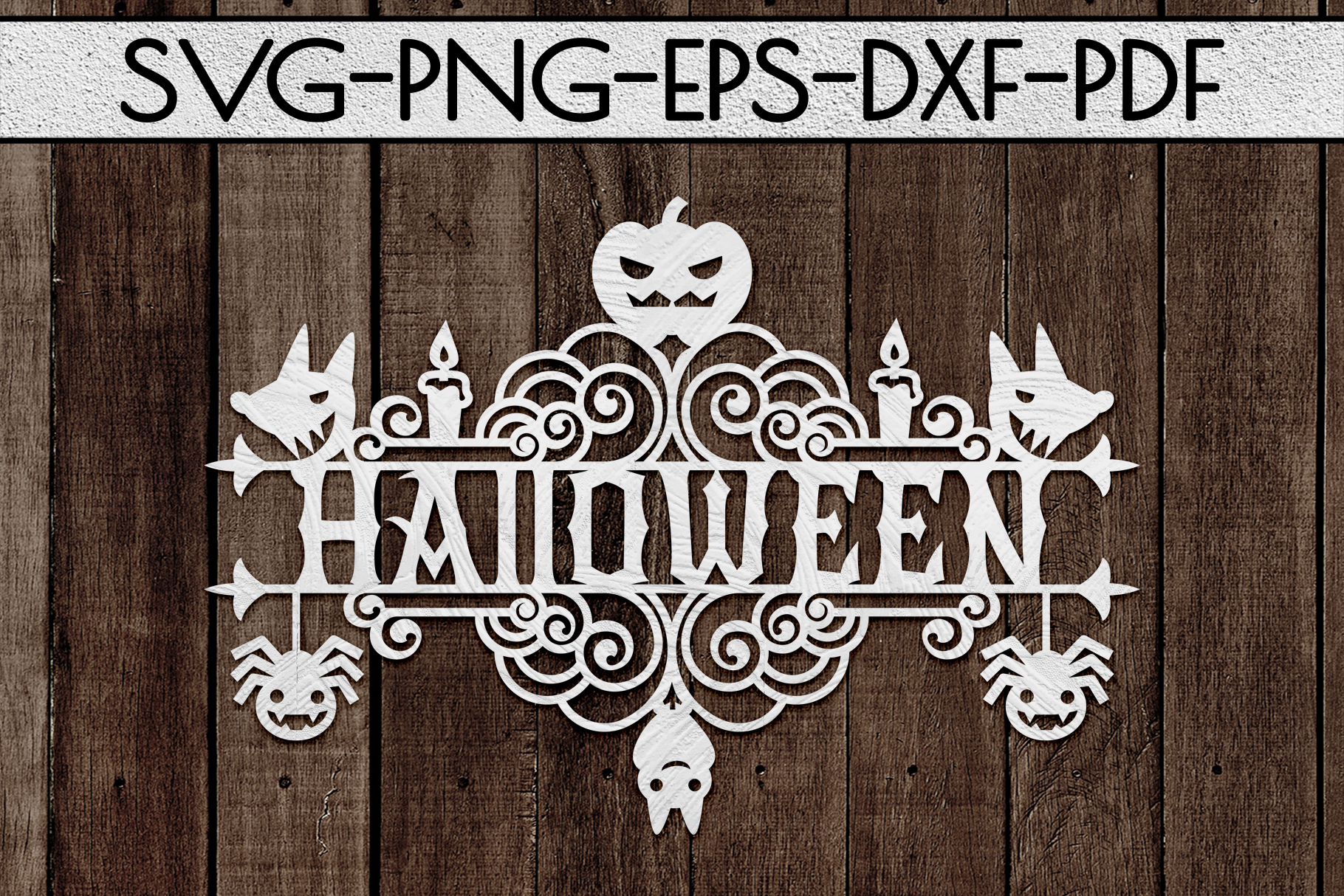 Halloween Sign Design Papercut Template, Spooky SVG, PDF example image 2