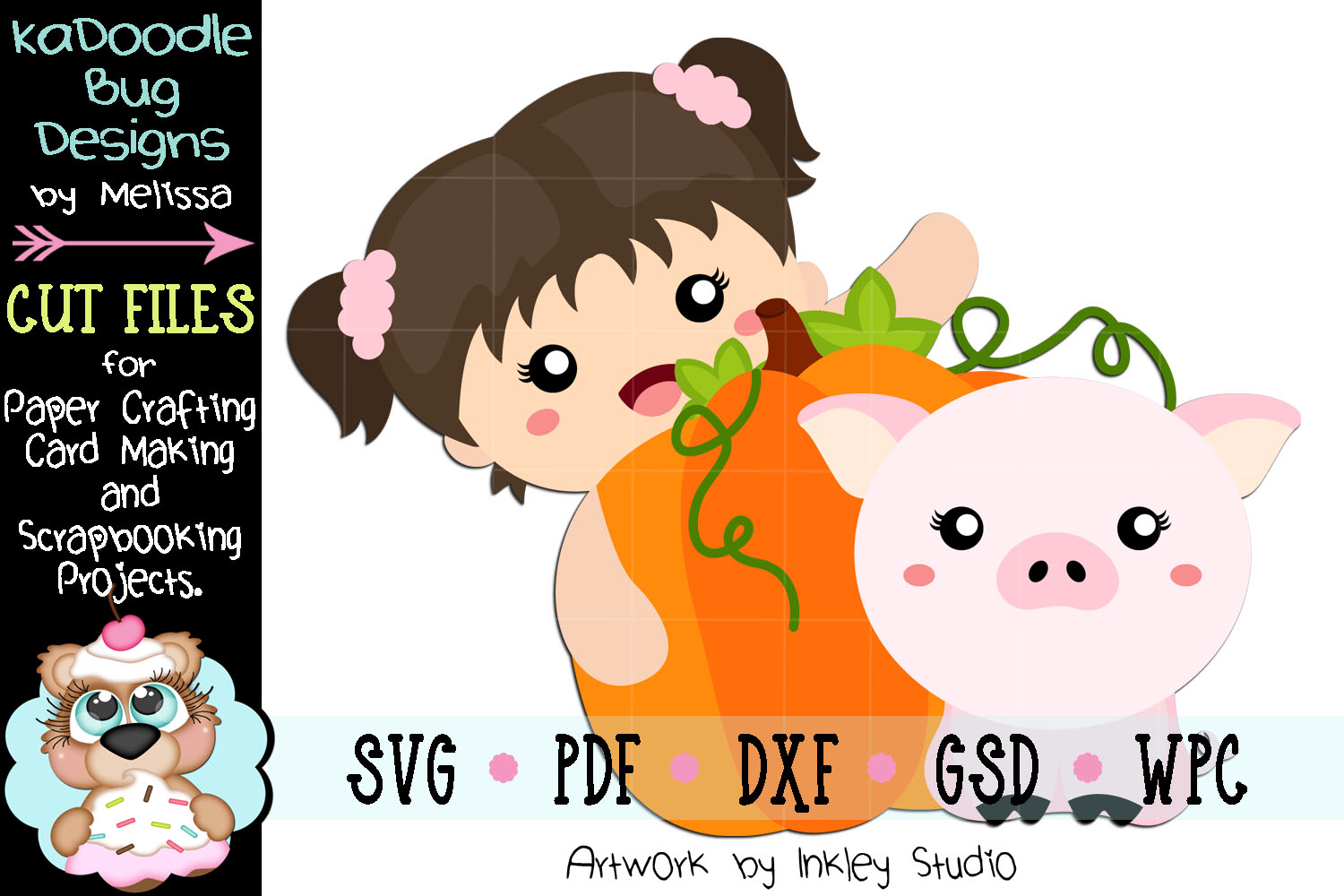 Autumn Girl Piggie Cut File - SVG PDF DXF GSD WPC example image 1