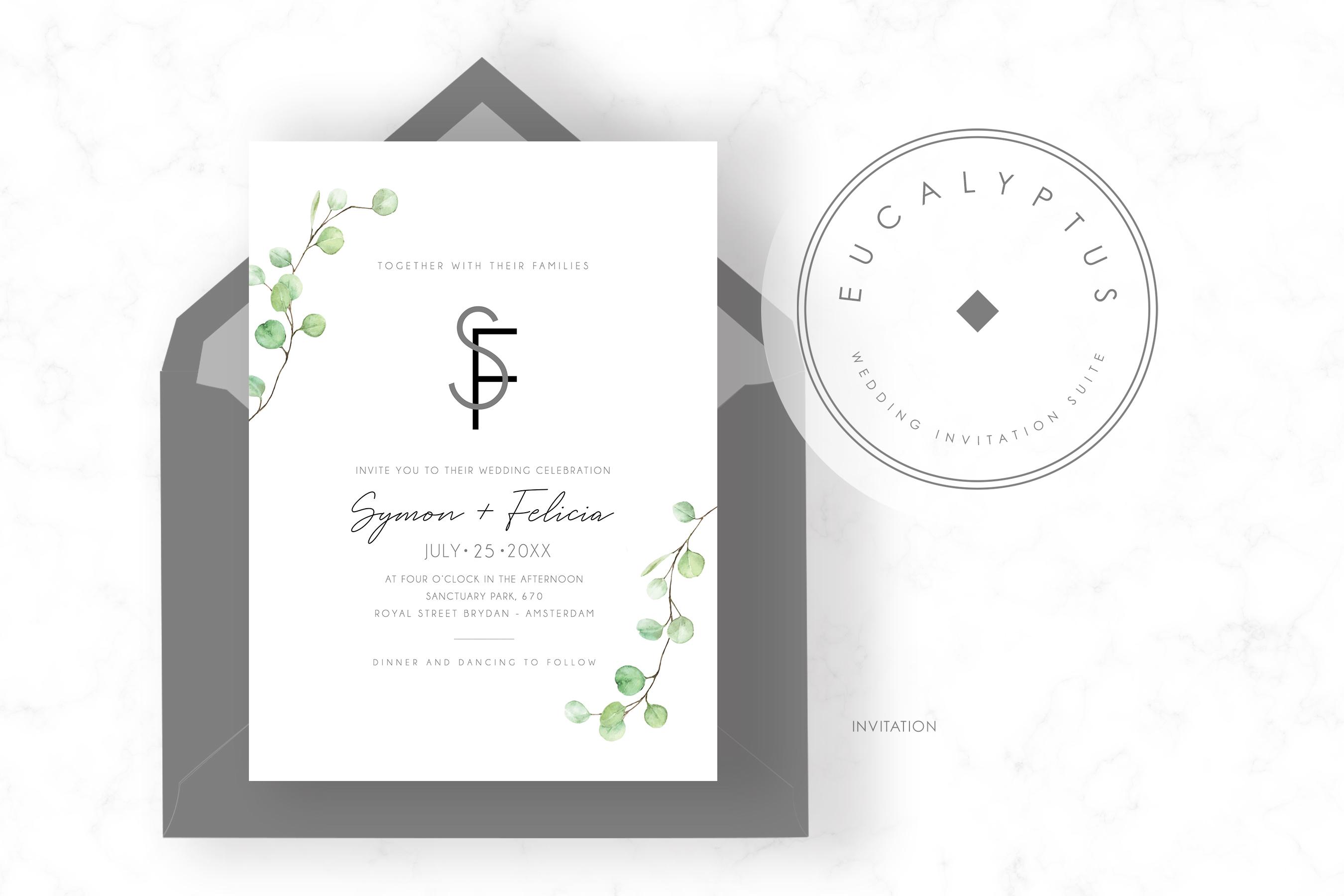 Eucalyptus Wedding Invitation Set example image 2