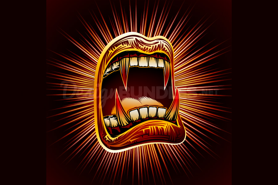 Vector Mouth Open Halloween Vampire Jaws Fang Stamp Print example image 4