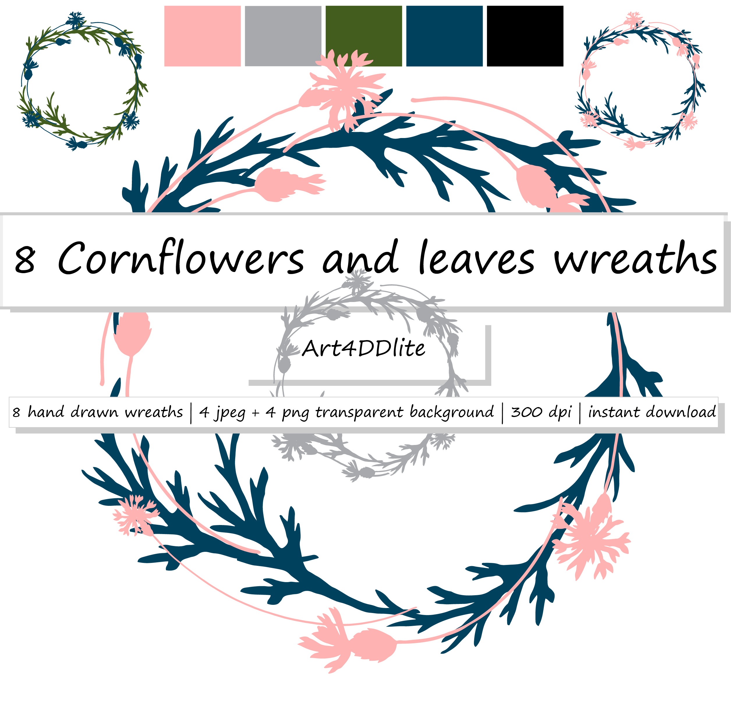 Cornflowers and Leaves Wreaths Clipart example image 1