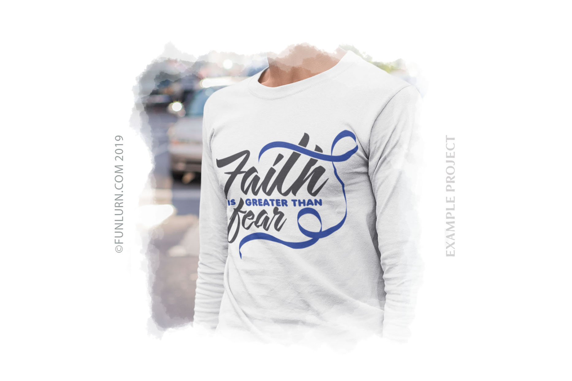 Faith is Greater Than Fear Dark Blue Ribbon SVG Cut File example image 3