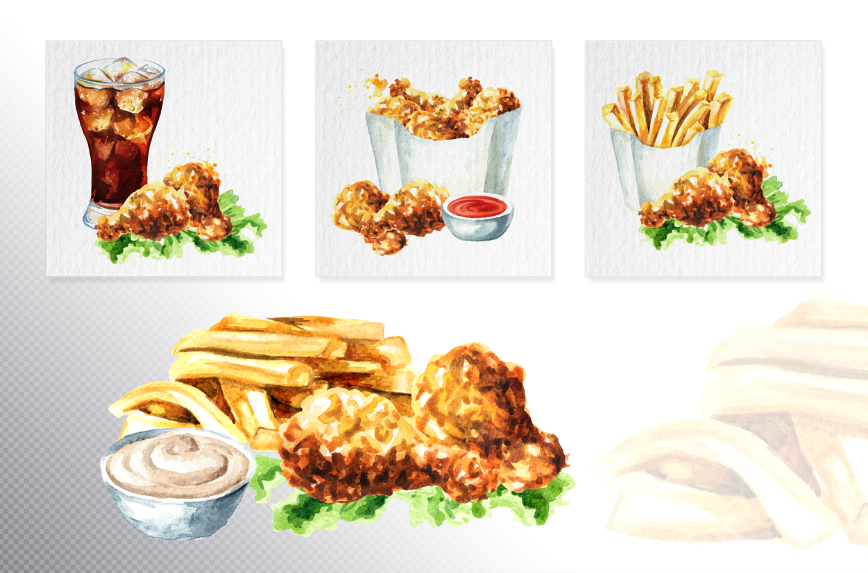Fast food watercolor collection example image 5
