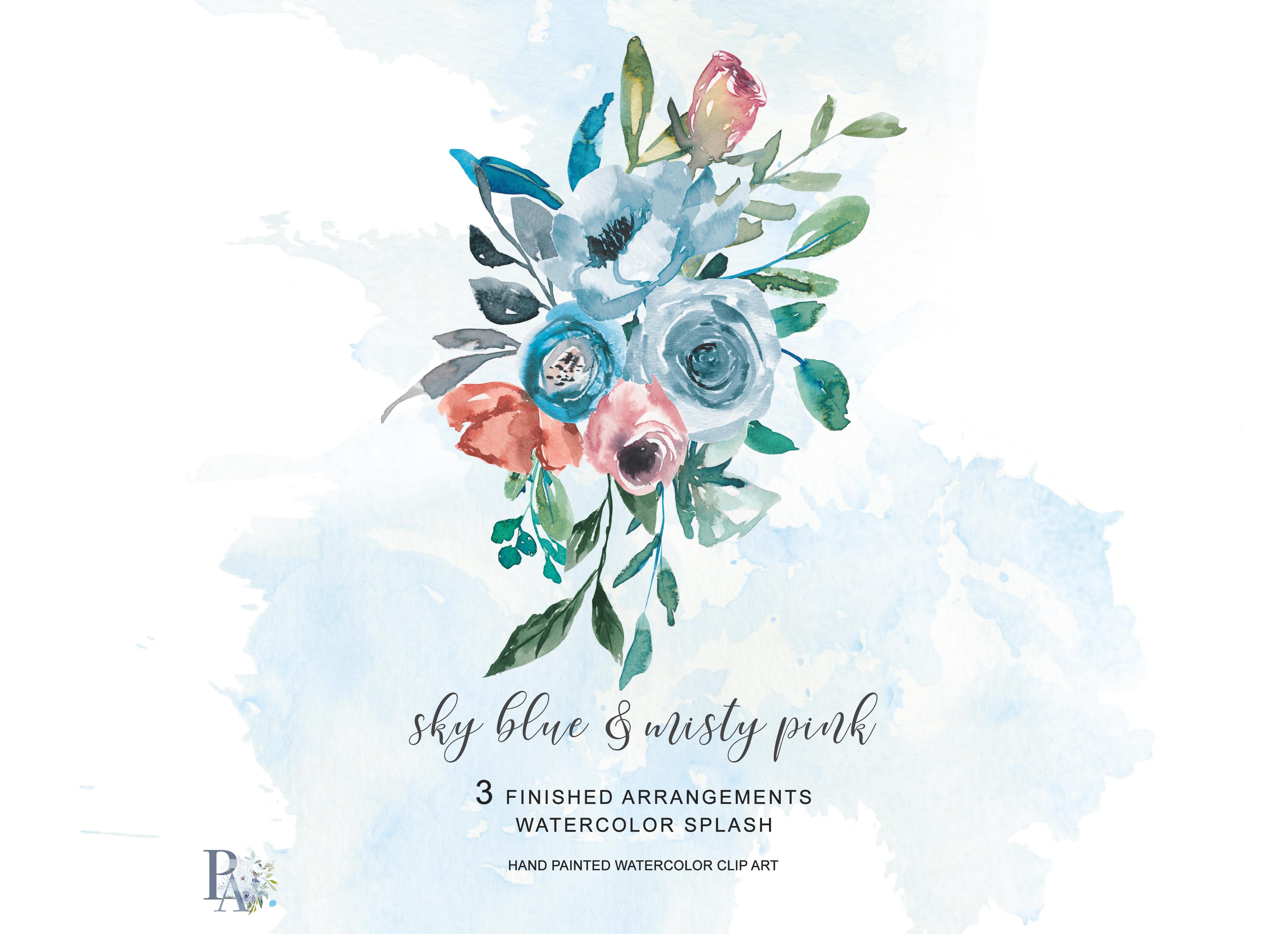 Watercolor Sky Blue Misty Pink Flowers