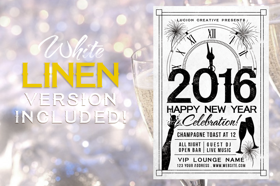 Chalk New Years Party Flyer example image 2