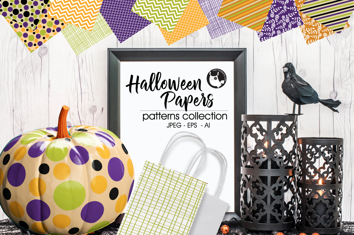 Halloween papers, digital papers example image 1