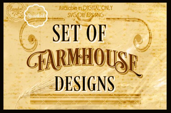 Vintage Farmhouse SET of 7 Stencil, Quotes, Digital Cutting Design Digital Vinyl Stencil Wood Sign Stencil SVG Silhouette example image 2