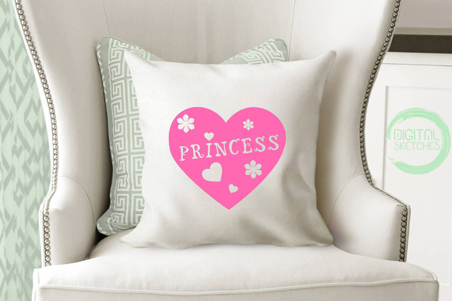 Princess Flower Heart Cut File Vector Graphics example image 3