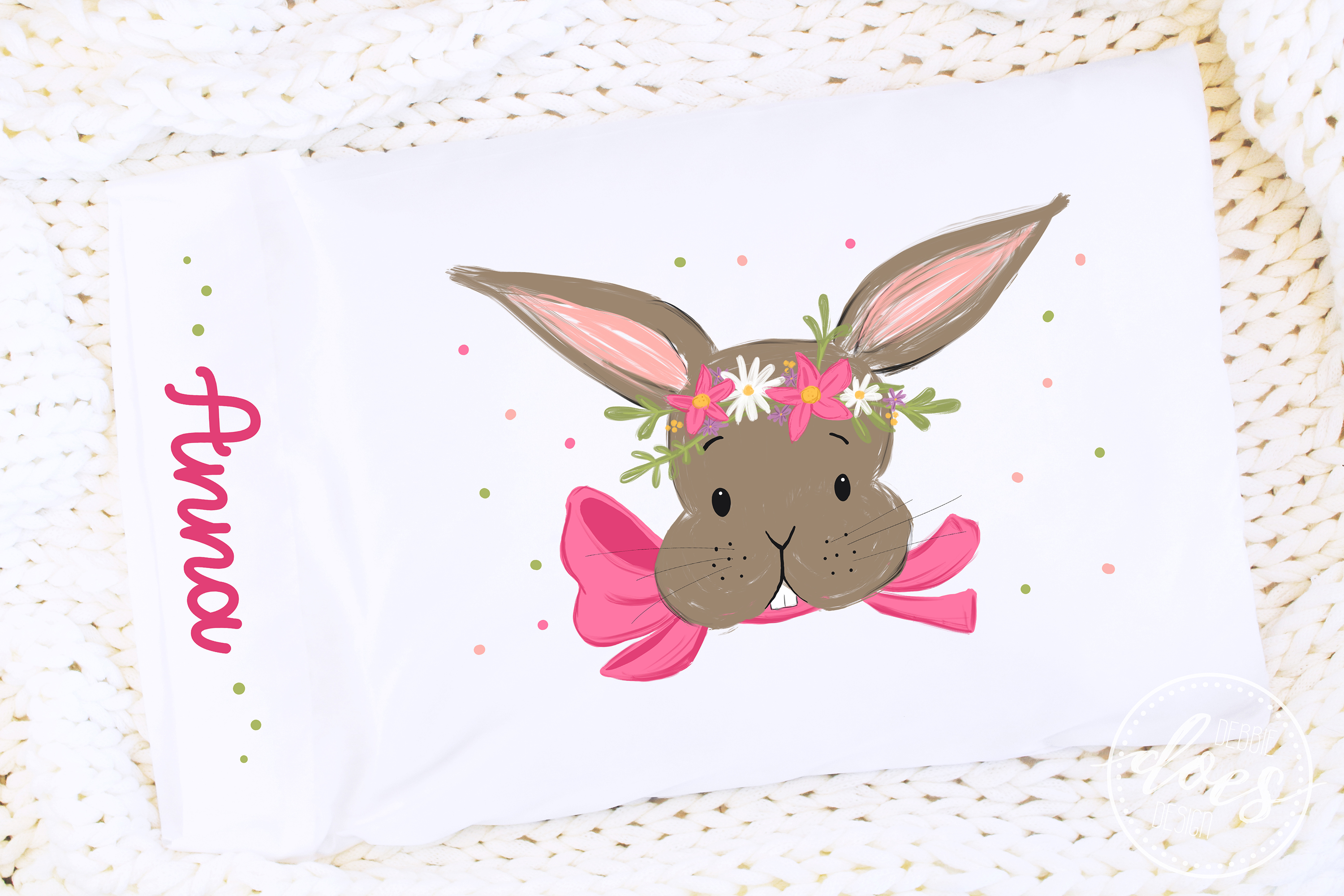 Easter Bunny with Pink Bow and Flowers - Printable Design example image 3
