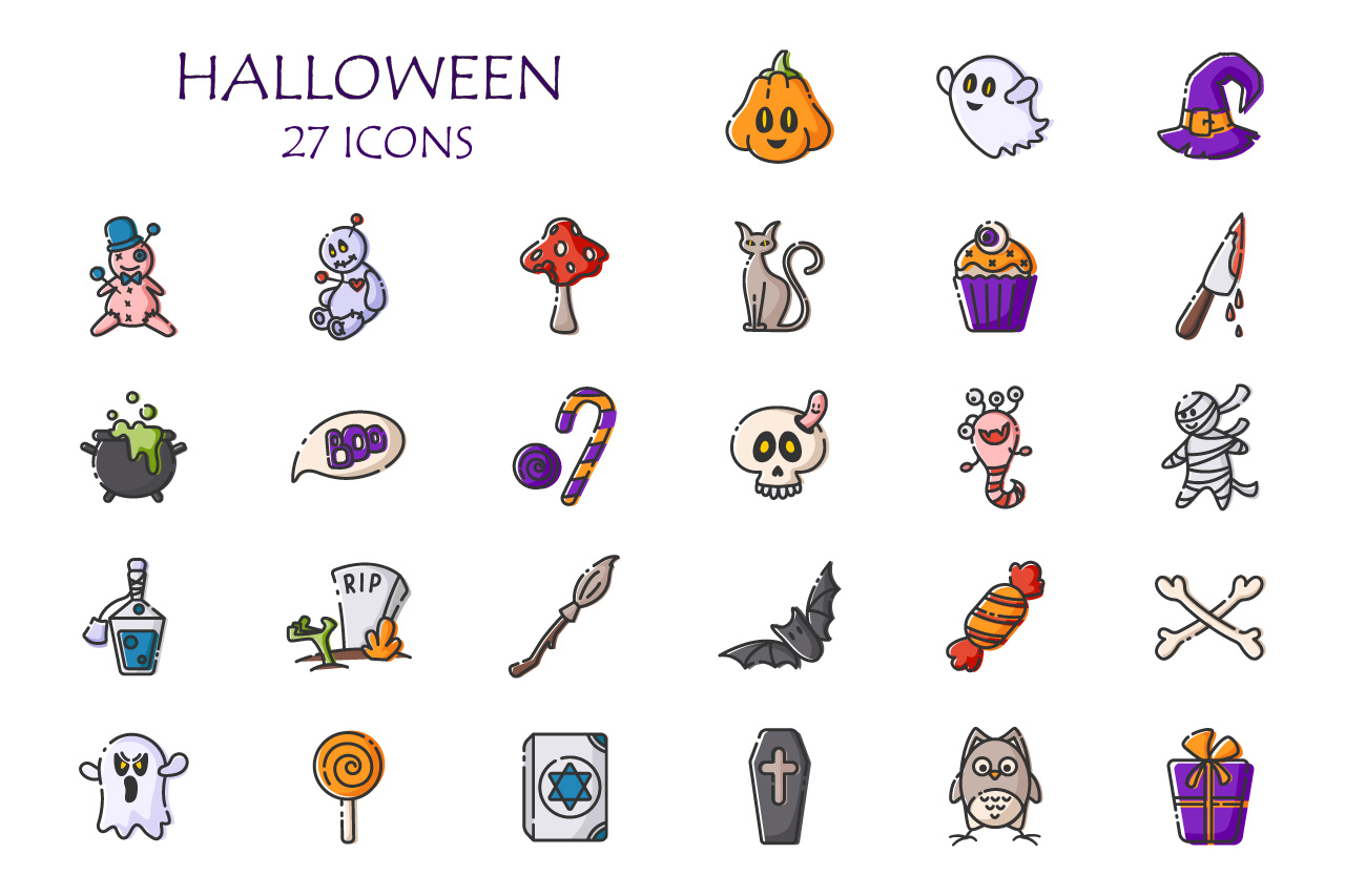 Outline funny Halloween symbols example image 1