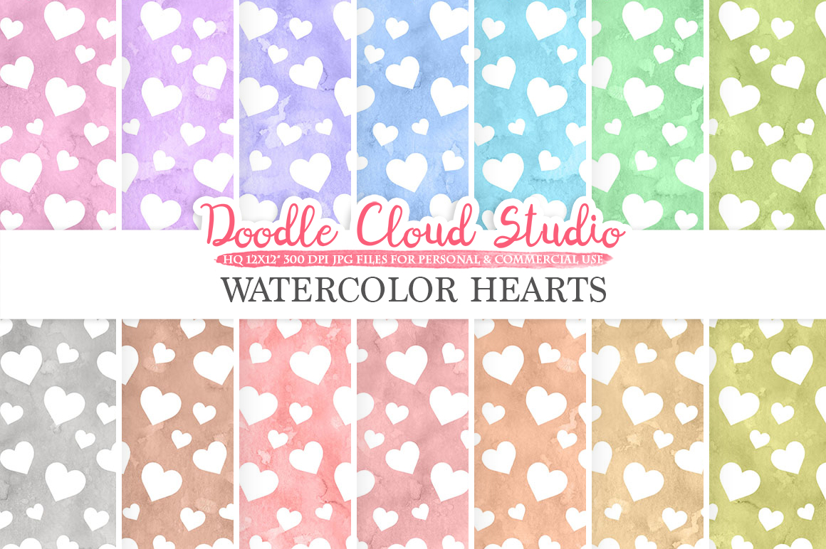 Watercolor Hearts digital paper, Hearts patterns, pastel watercolor background, Instant Download, for Personal & Commercial Use example image 1