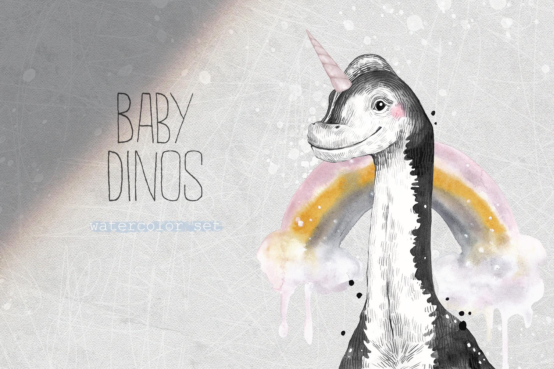 BABY DINOS watercolor set example image 1