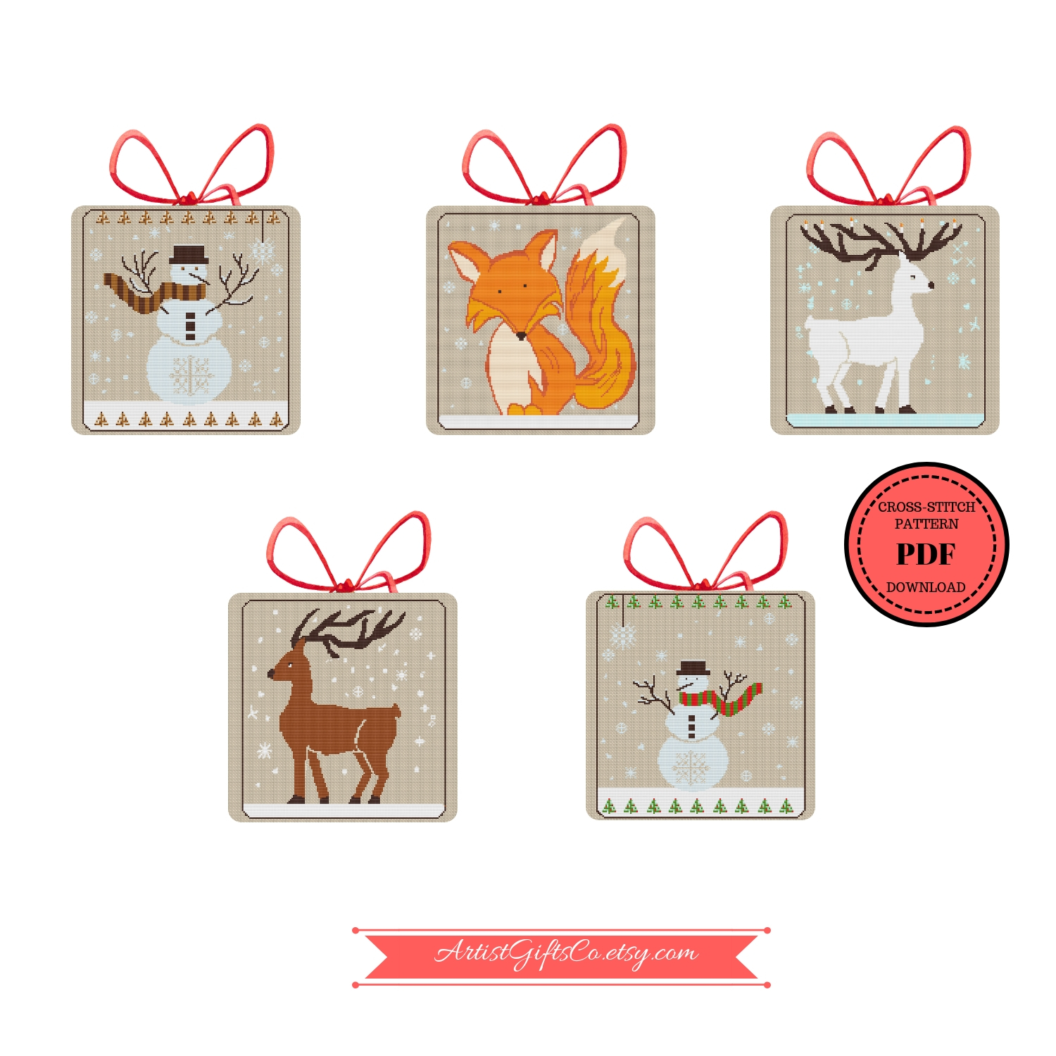 Set 5 Christmas Winter Animals, Counted Cross Stitch Pattern example image 7