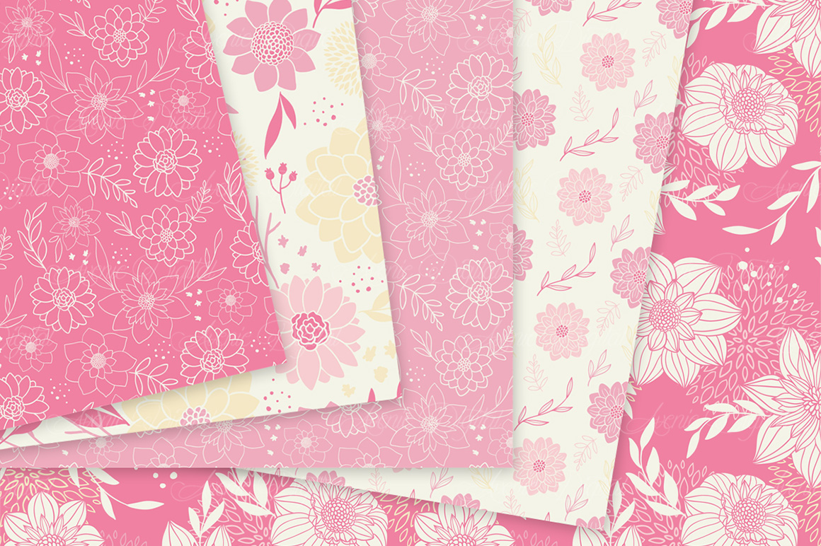 Pink and cream floral vector patterns pink flower seamless digital pink and cream floral vector patterns pink flower seamless digital papers example image 3 mightylinksfo