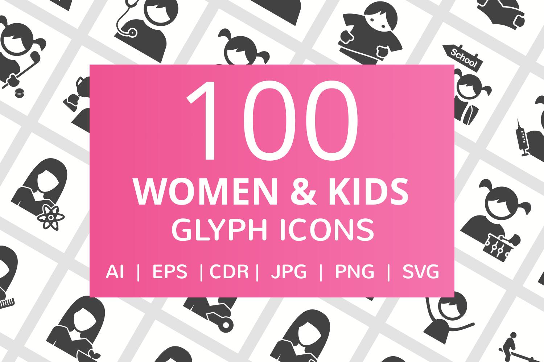 100 Women & Kids Glyph Icons example image 1
