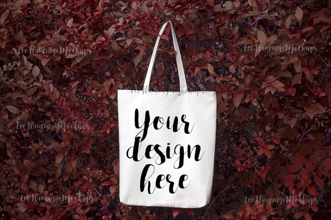 Tote bag mockup natural background winter fall autumn image example image 1