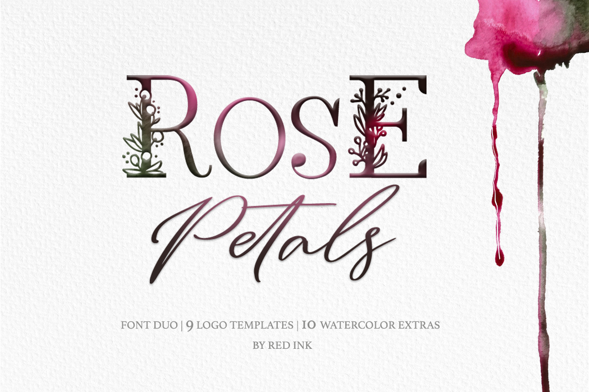 Rose Petals. Font duo Bonuses. example image 1