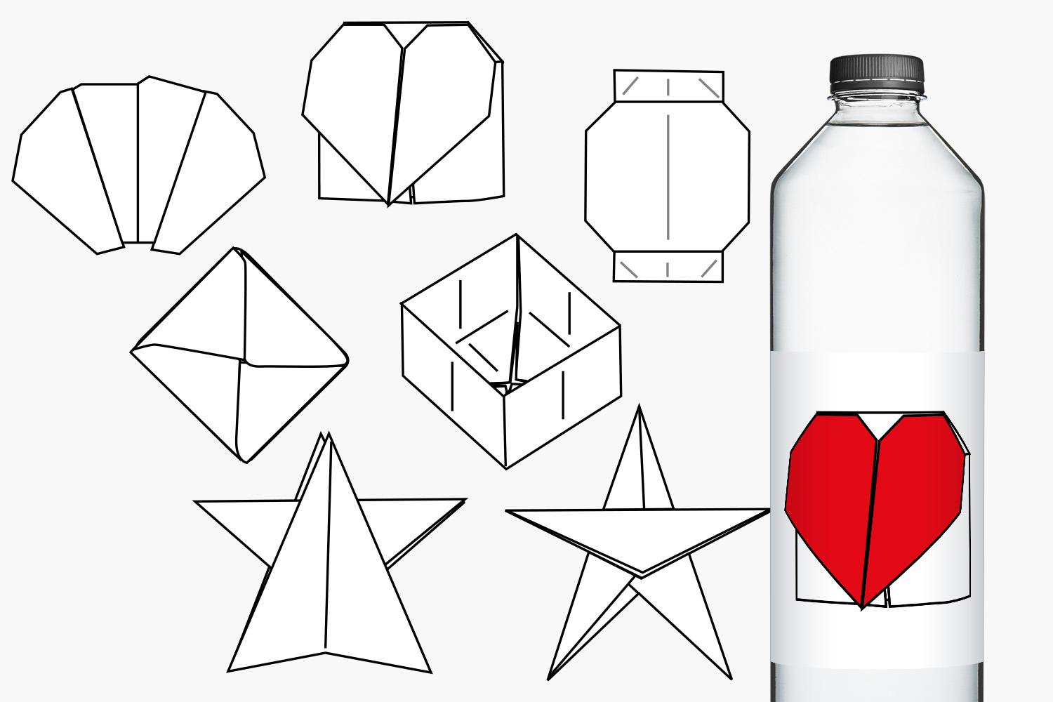 Simple origami clip art illustrations example image 2