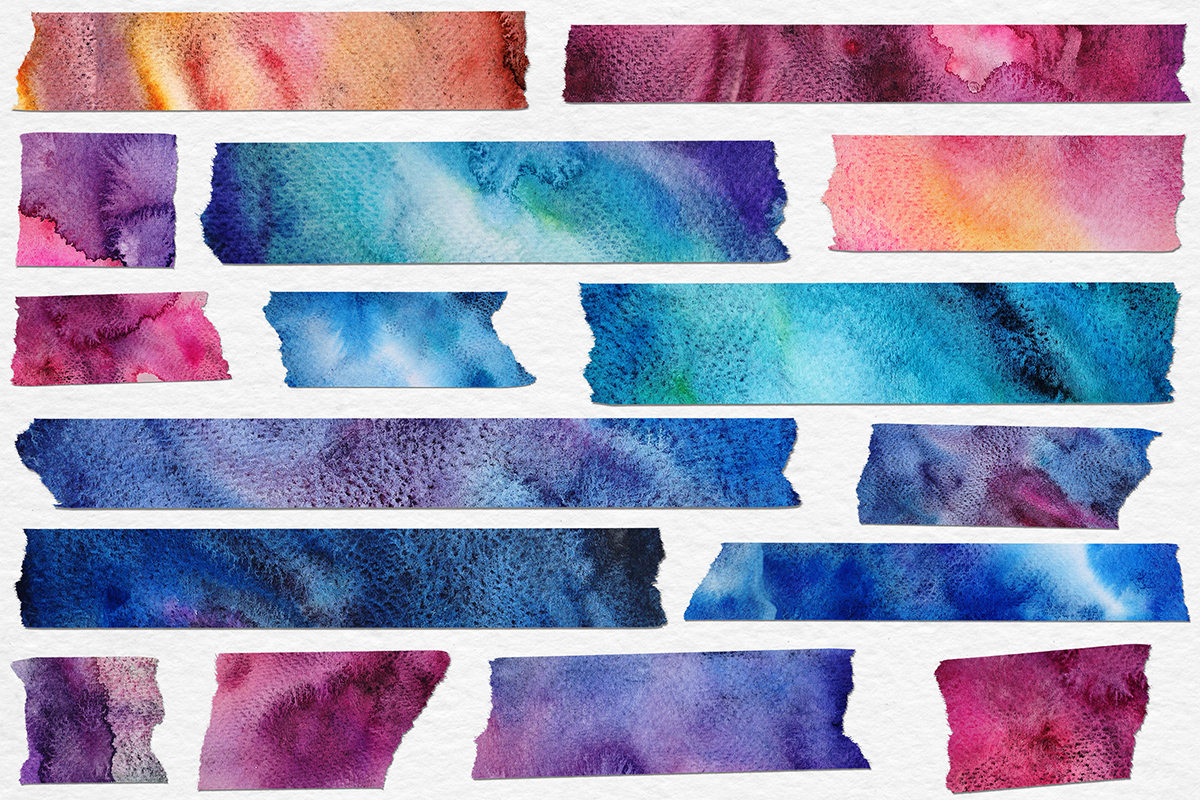 photograph about Printable Washi Tape referred to as Watercolor Washi Tape Clipart