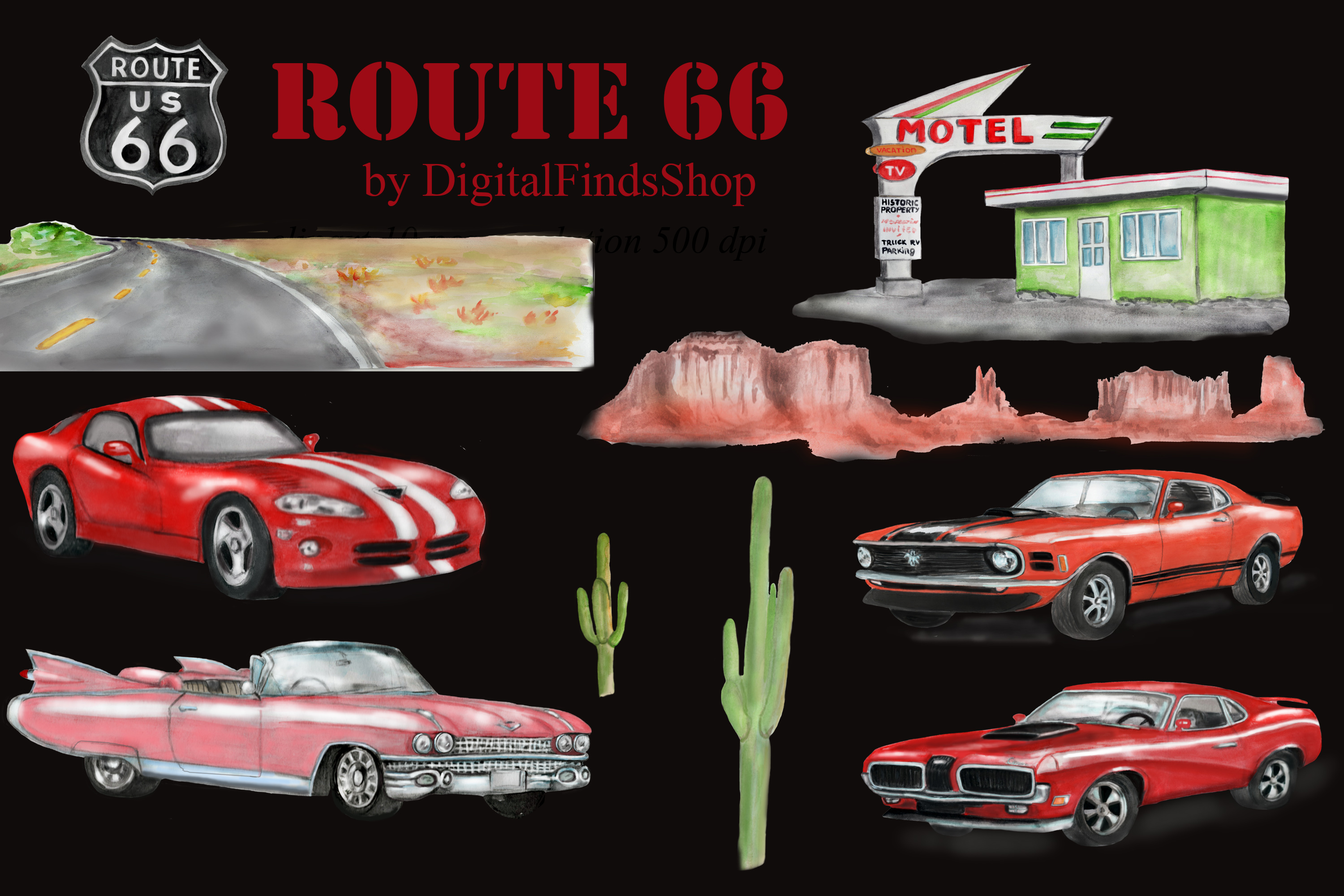 American car clipart, Route 66, vehicle watercolor clipart example image 3