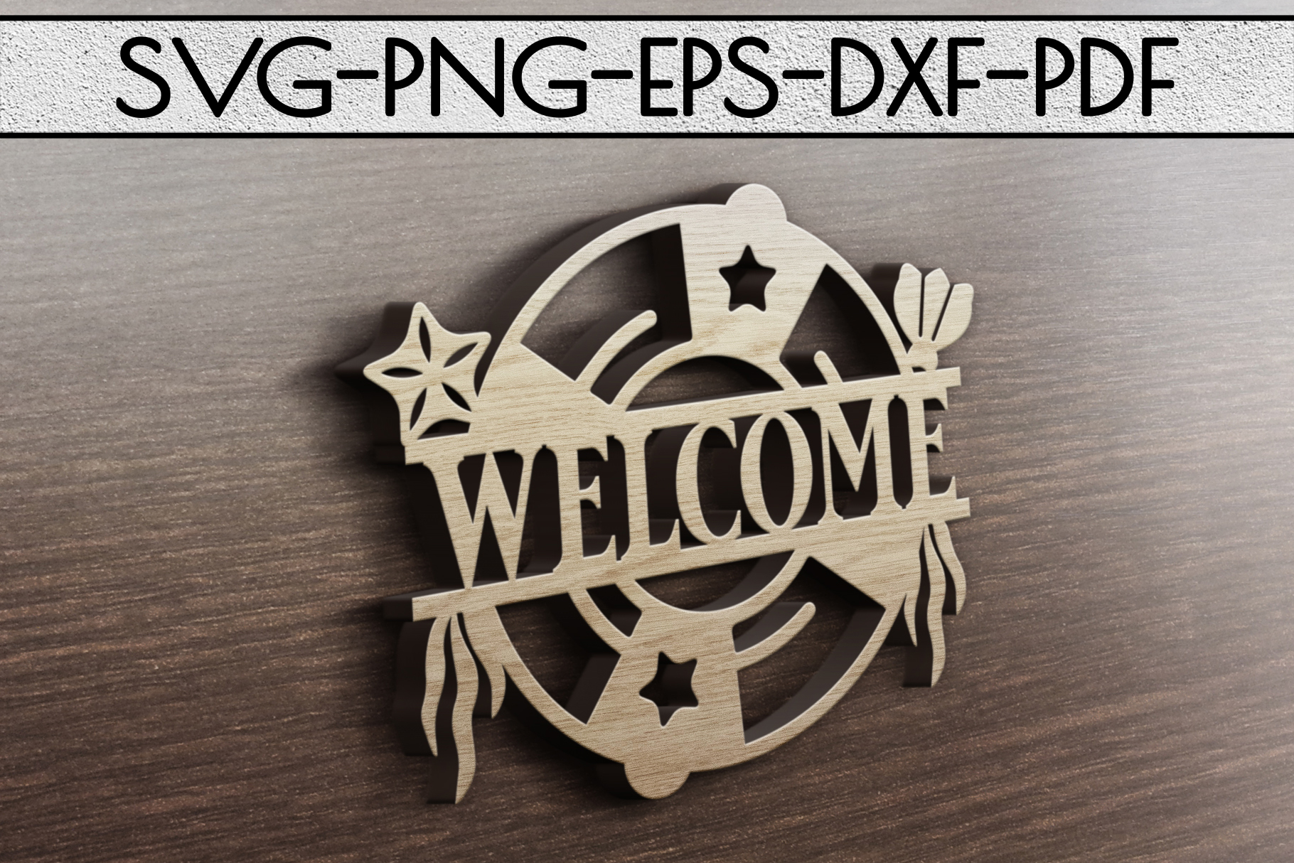 Welcome Sign Papercut Template, Beach House Decor, SVG, DXF example image 3