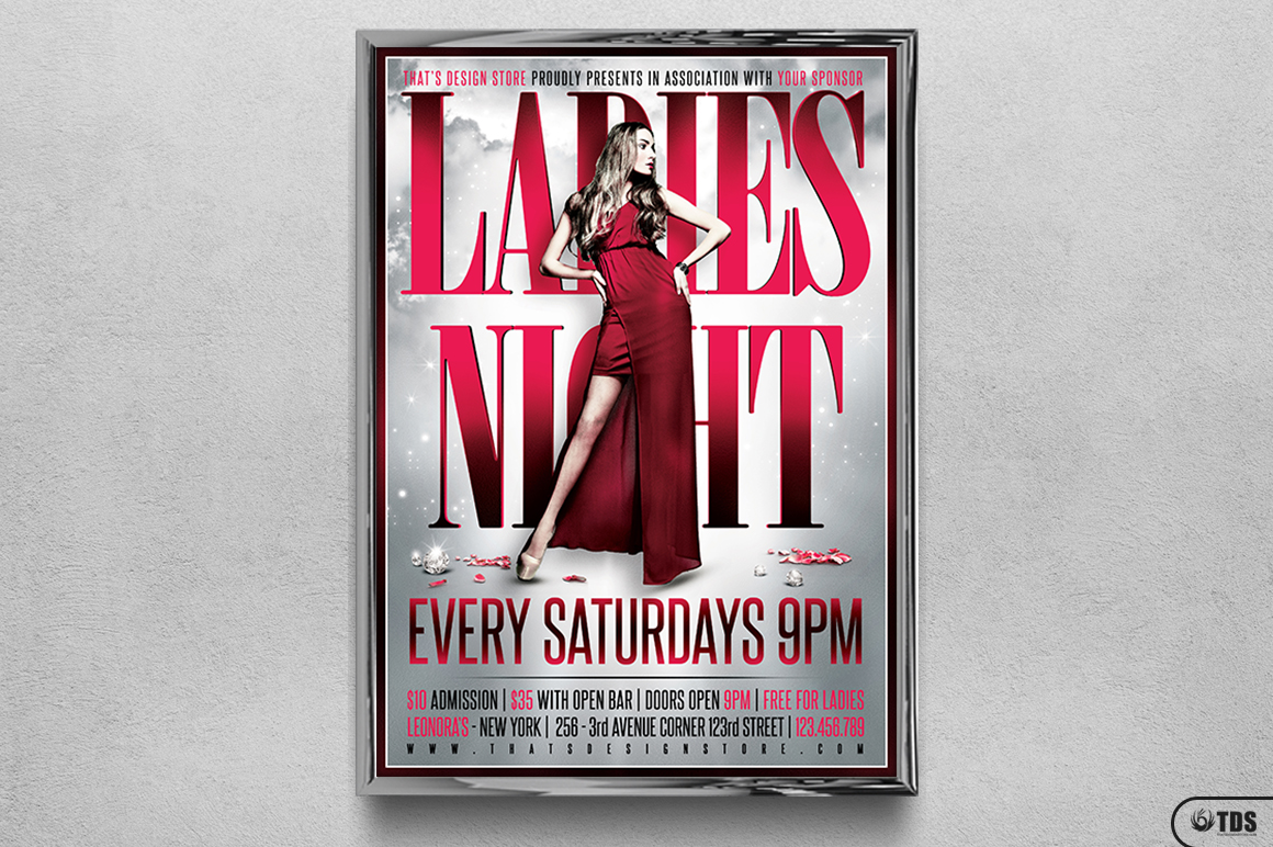 Ladies Night Flyer Poster Template V2 example image 6