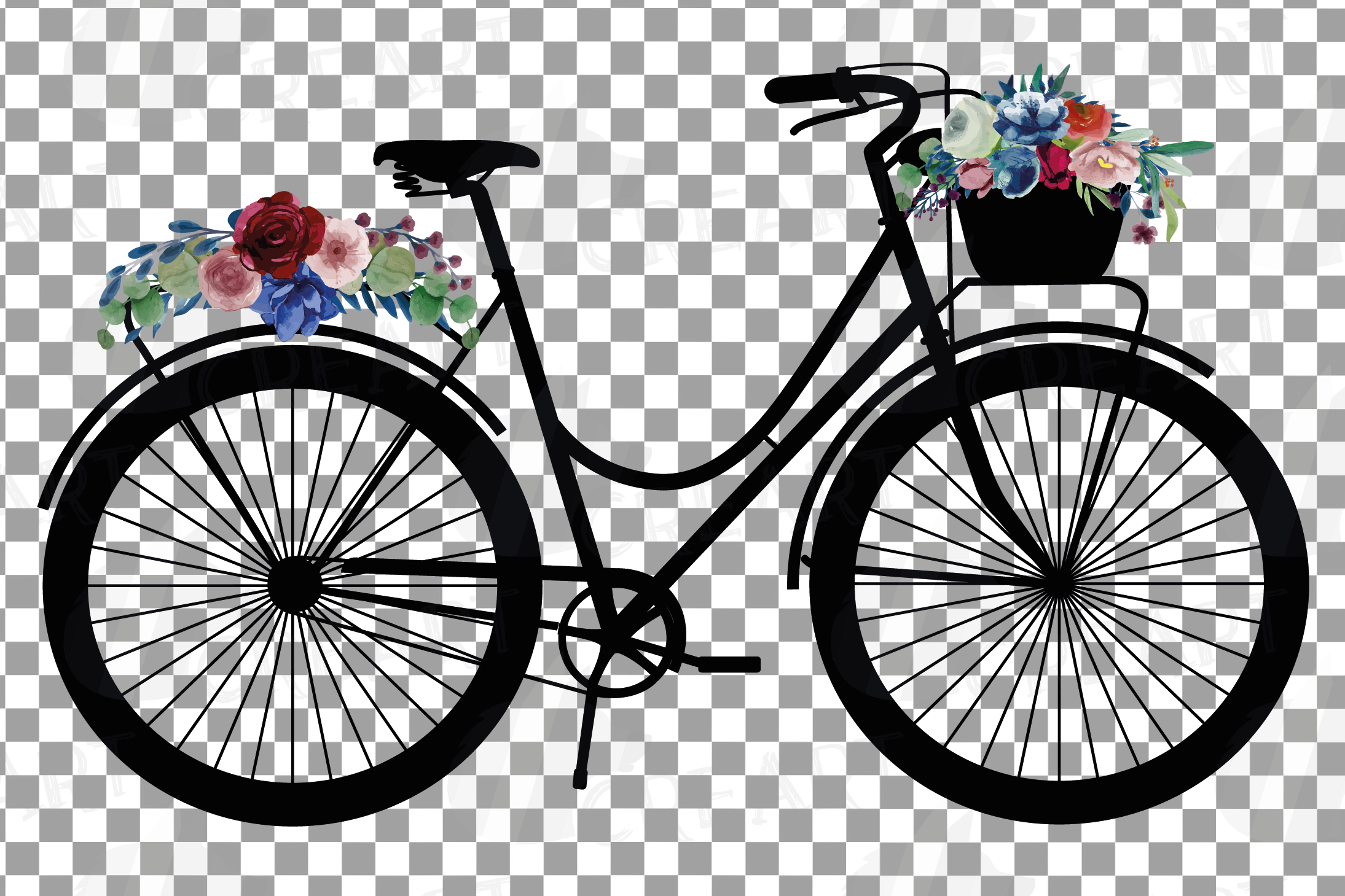 Floral bicycles with watercolor bouquets decoration clip art example image 4