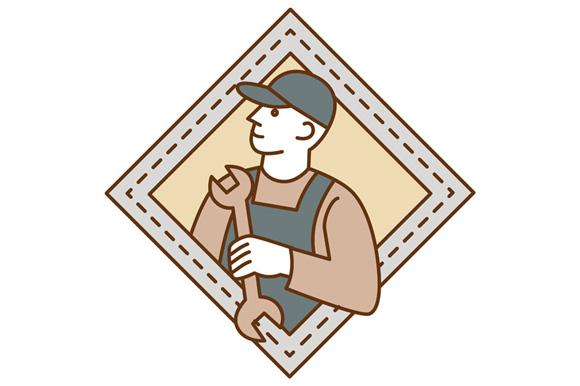 Mechanic Holding Wrench Crest Mono Line example image 1