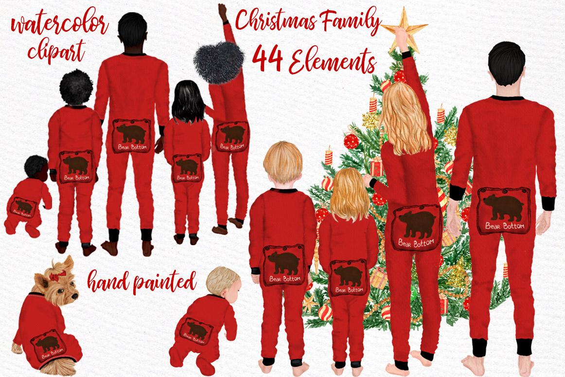 Watercolor Christmas Family Clipart Christmas Mug designs example image 1