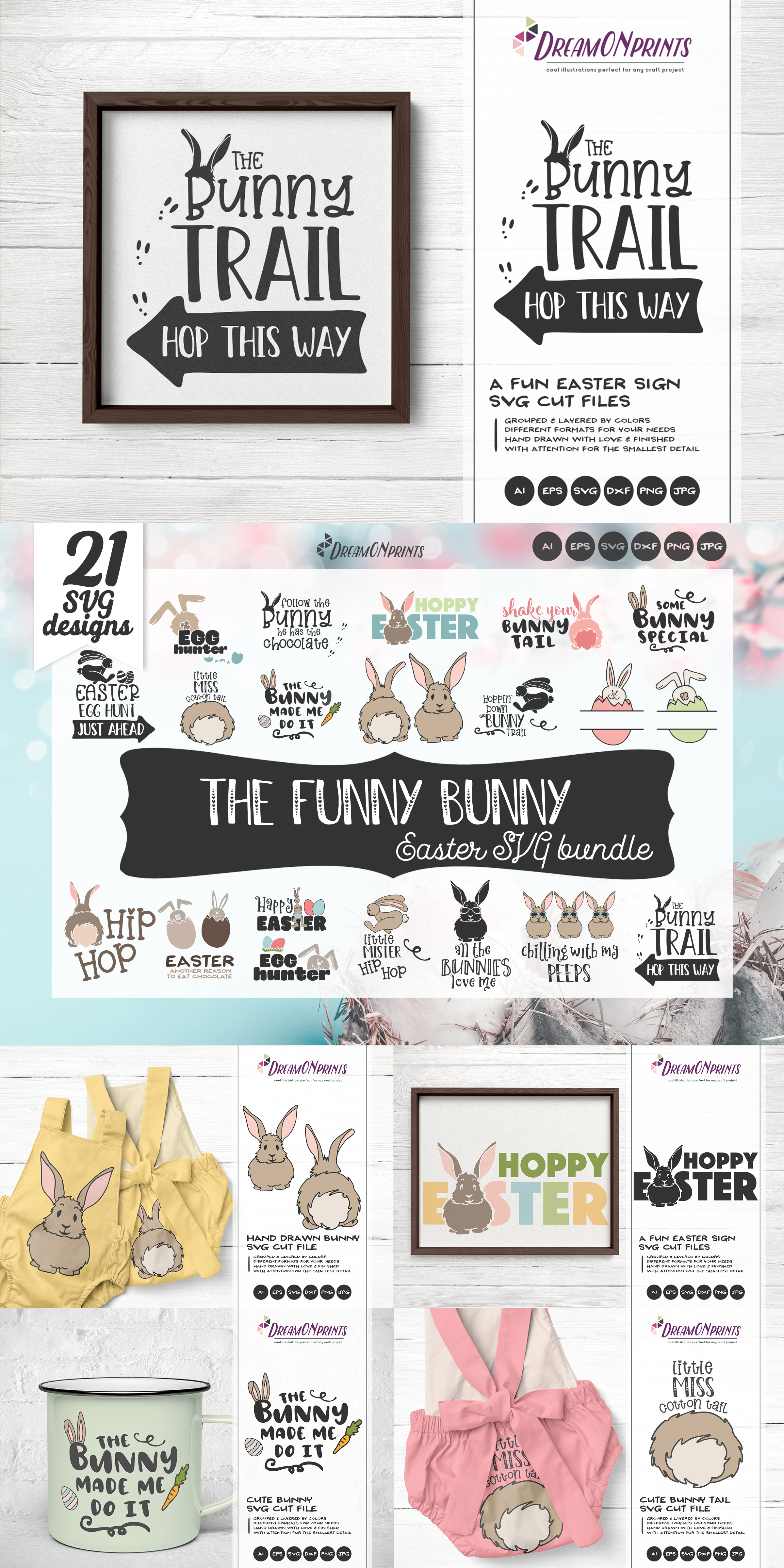 Easter SVG Bundle - The Funny Bunny Vector BUNDLE example image 18