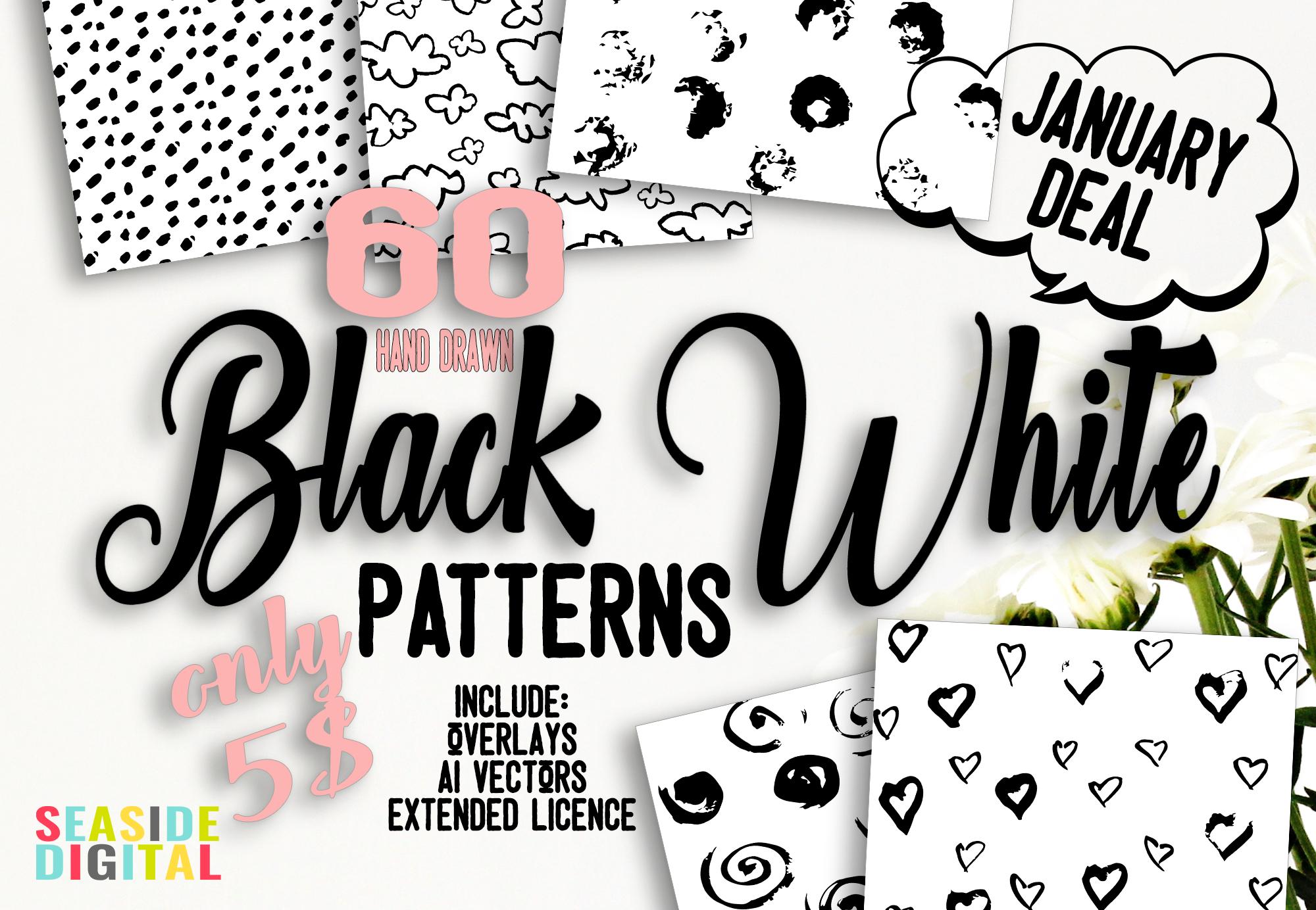 60 Black and White Patterns Bundle example image 1