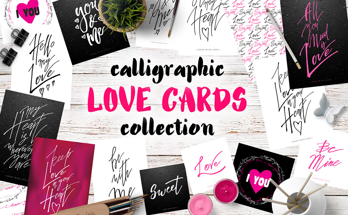 Calligraphy Love Cards example image 1