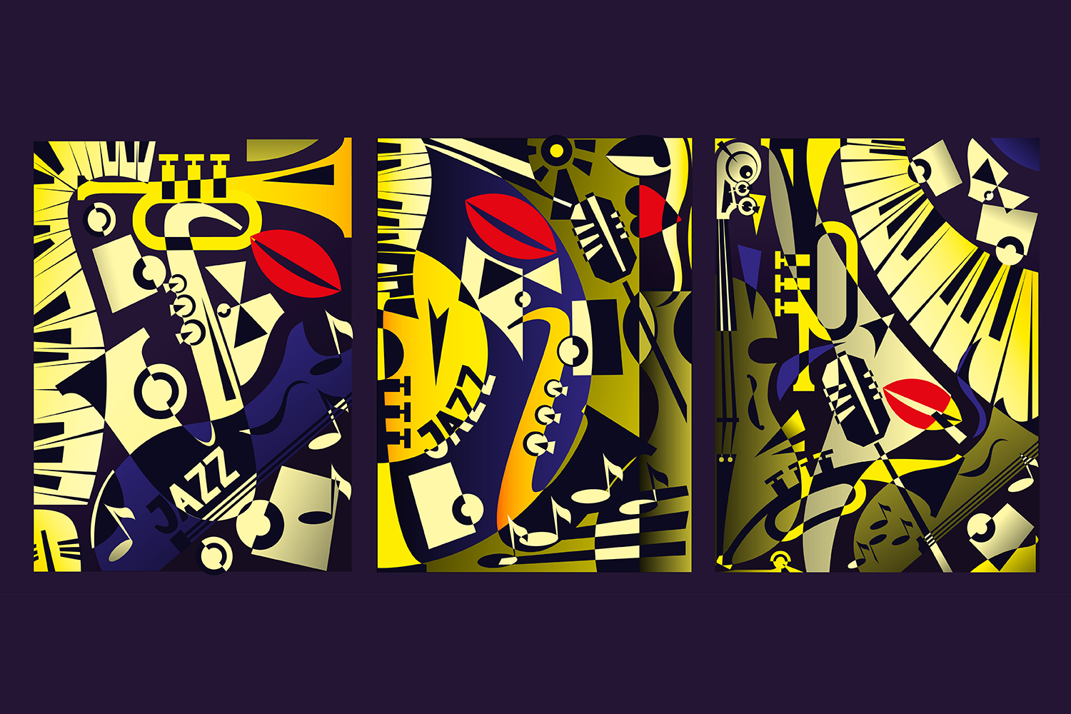 Triptych painting - jazz music in retro geometric abstraction style - 2. Vector illustration example image 1