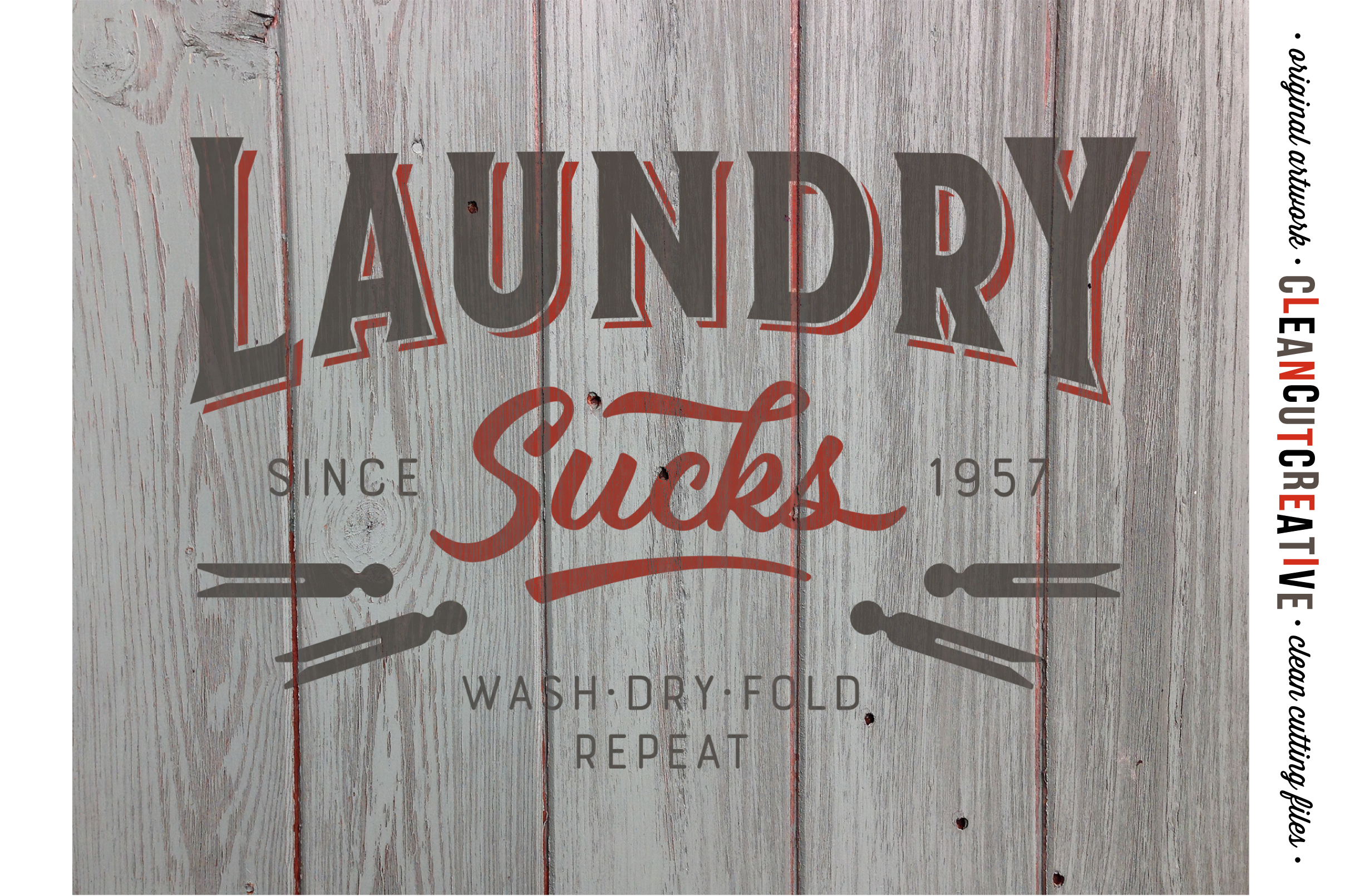 Laundry Sucks :) - SVG DXF EPS PNG - Cricut & Silhouette - clean cutting files example image 3